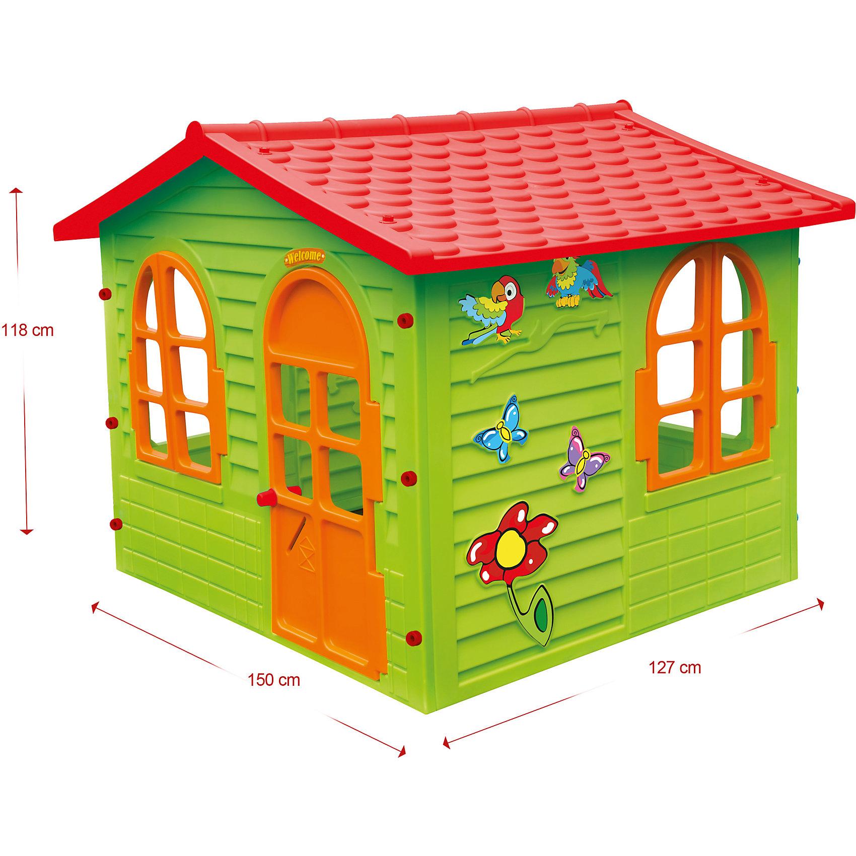 Домик-вилла, MochtoysДомики и мебель<br>Домик-вилла, Mochtoys.<br><br>Характеристики:<br><br>• Для детей в возрасте: от 1 года<br>• Размер: 127х150х118 см.<br>• Конструкция сборная (собирается с помощью пластиковых болтов и гаек)<br>• Материал: пластик<br>• Цвета: зеленый, красный, оранжевый<br>• Размер упаковки: 16х115х132 см.<br>• Вес: 19,3 кг.<br><br>Домик-вилла Mochtoys идеально подойдет для игр вашего ребенка на открытом воздухе и в помещении! Размеры домика достаточны, чтобы вместить несколько детей одновременно, что обеспечивает невероятные возможности для совместных игр малышей. В домике есть окна и дверь арочной формы. Два окна оборудованы открывающимися рамами. Дверь домика открывается. Одна из стен домика украшена бабочками, попугайчиками и цветком. На крыше имитация черепицы. Дизайн домика продуман таким образом, что у ребенка создается полное впечатление того, что он находится в настоящем доме. Все детали дома надежно фиксируются между собой и не разбалтываются при активной эксплуатации.  Конструкция домика устойчивая и надежная, острые края отсутствуют, поэтому он абсолютно безопасен для детей. Изделие выполнено в соответствии с европейскими стандартами качества из высококачественного, прочного пластика. Материал не выгорает на солнце и морозоустойчив (не боится морозов до -15 градусов). Домик прост в уходе, его можно мыть на даче из шланга проточной водой.<br><br>Домик-виллу, Mochtoys можно купить в нашем интернет-магазине.<br><br>Ширина мм: 1270<br>Глубина мм: 1500<br>Высота мм: 1180<br>Вес г: 19300<br>Возраст от месяцев: 12<br>Возраст до месяцев: 120<br>Пол: Унисекс<br>Возраст: Детский<br>SKU: 5510708