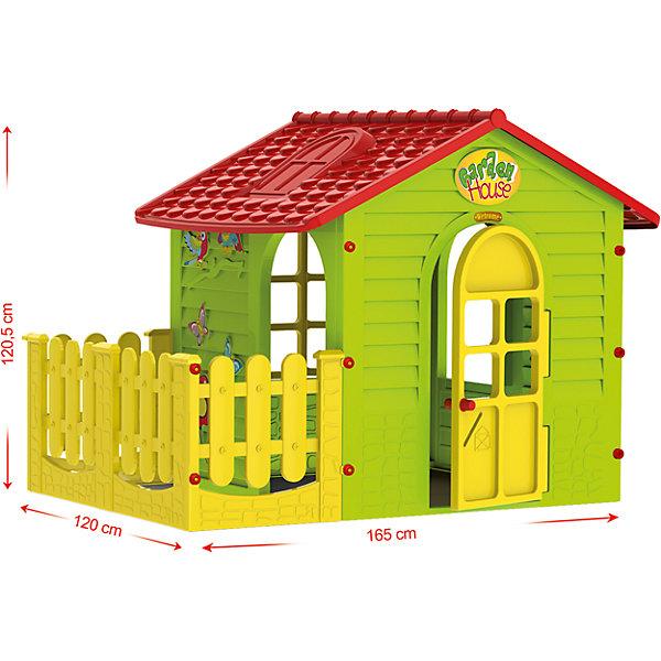 Домик с забором, MochtoysДомики и мебель<br>Домик с забором, Mochtoys.<br><br>Характеристики:<br><br>• Для детей в возрасте: от 1 года<br>• Размер домика с забором: 165х120х120,5 см.<br>• Конструкция сборная (собирается с помощью пластиковых болтов и гаек)<br>• Материал: пластик<br>• Цвета: зеленый, красный, желтый<br>• Размер упаковки: 115х19,5х120,5 см.<br>• Вес: 19,5 кг.<br><br>Домик с забором Mochtoys идеально подойдет для игр вашего ребенка на открытом воздухе и в помещении! Размеры домика достаточны, чтобы вместить несколько детей одновременно, что обеспечивает невероятные возможности для совместных игр малышей. В домике есть 2 окна, дверь и дверной проем, для выхода во дворик огороженный забором. Одно из окон оборудовано открывающейся рамой. Дверь домика открывается. Одна из стен домика украшена бабочками, попугайчиками и цветком. На крыше имитация черепицы и мансардного окна. Двор домика отгорожен желтым декоративным заборчиком, что создает дополнительное игровое пространство, которое можно использовать для игры в теремок, прятки, в магазин, а также дети смогут там размещать цветочные горшки с настоящими цветами, поливать их, заботиться о них. Дизайн домика продуман таким образом, что у ребенка создается полное впечатление того, что он находится в настоящем доме. Все детали дома надежно фиксируются между собой и не разбалтываются при активной эксплуатации. Конструкция домика устойчивая и надежная, острые края отсутствуют, поэтому он абсолютно безопасен для детей. Изделие выполнено в соответствии с европейскими стандартами качества из высококачественного, прочного пластика. Материал не выгорает на солнце и морозоустойчив (не боится морозов до -15 градусов). Домик прост в уходе, его можно мыть на даче из шланга проточной водой.<br><br>Домик с забором, Mochtoys можно купить в нашем интернет-магазине.<br>Ширина мм: 1650; Глубина мм: 1200; Высота мм: 1205; Вес г: 19500; Возраст от месяцев: 12; Возраст до месяцев: 120; Пол: Унисекс; Возраст: Детский; SKU: 5510709;