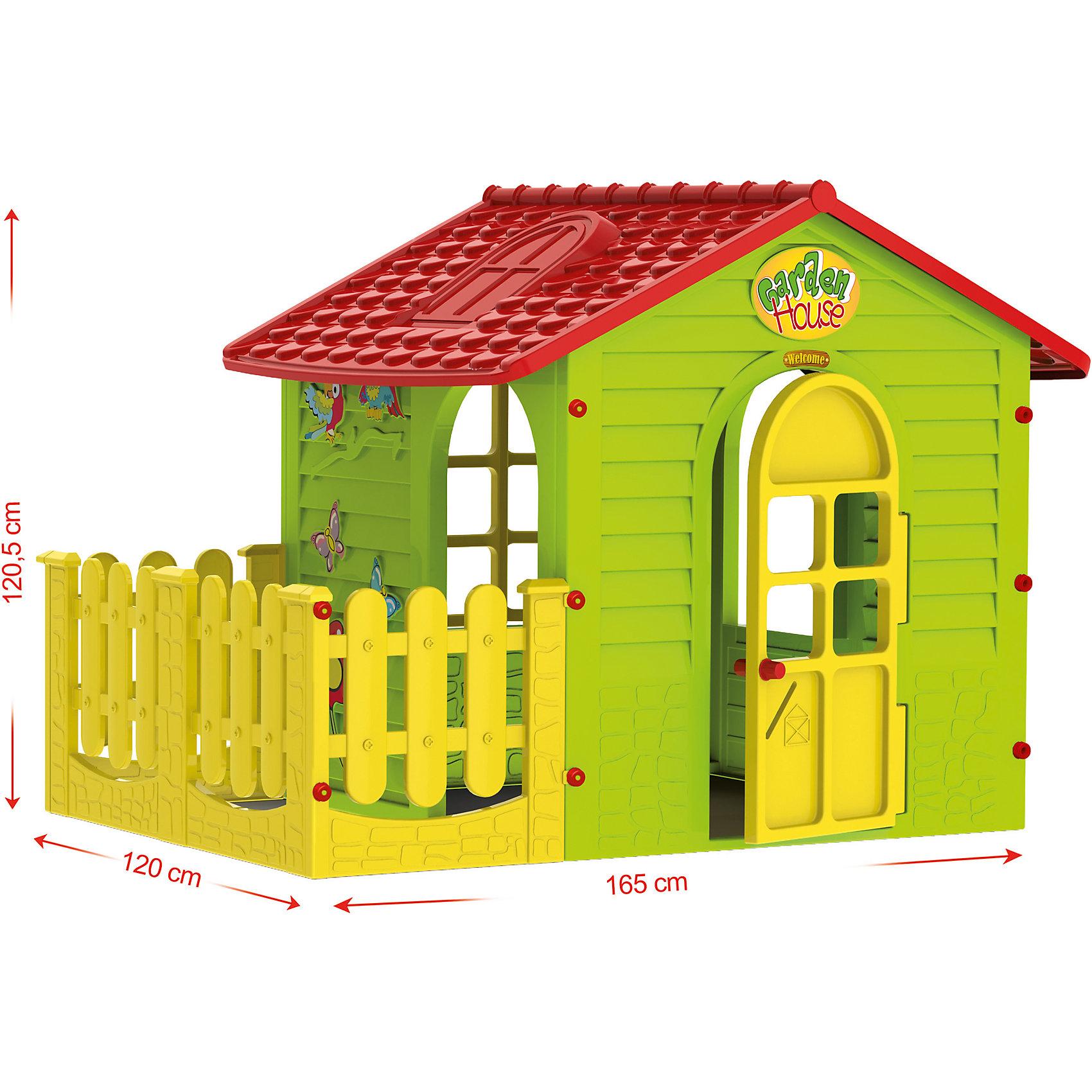 Домик с забором, MochtoysДомики и мебель<br>Домик с забором, Mochtoys.<br><br>Характеристики:<br><br>• Для детей в возрасте: от 1 года<br>• Размер домика с забором: 165х120х120,5 см.<br>• Конструкция сборная (собирается с помощью пластиковых болтов и гаек)<br>• Материал: пластик<br>• Цвета: зеленый, красный, желтый<br>• Размер упаковки: 115х19,5х120,5 см.<br>• Вес: 19,5 кг.<br><br>Домик с забором Mochtoys идеально подойдет для игр вашего ребенка на открытом воздухе и в помещении! Размеры домика достаточны, чтобы вместить несколько детей одновременно, что обеспечивает невероятные возможности для совместных игр малышей. В домике есть 2 окна, дверь и дверной проем, для выхода во дворик огороженный забором. Одно из окон оборудовано открывающейся рамой. Дверь домика открывается. Одна из стен домика украшена бабочками, попугайчиками и цветком. На крыше имитация черепицы и мансардного окна. Двор домика отгорожен желтым декоративным заборчиком, что создает дополнительное игровое пространство, которое можно использовать для игры в теремок, прятки, в магазин, а также дети смогут там размещать цветочные горшки с настоящими цветами, поливать их, заботиться о них. Дизайн домика продуман таким образом, что у ребенка создается полное впечатление того, что он находится в настоящем доме. Все детали дома надежно фиксируются между собой и не разбалтываются при активной эксплуатации. Конструкция домика устойчивая и надежная, острые края отсутствуют, поэтому он абсолютно безопасен для детей. Изделие выполнено в соответствии с европейскими стандартами качества из высококачественного, прочного пластика. Материал не выгорает на солнце и морозоустойчив (не боится морозов до -15 градусов). Домик прост в уходе, его можно мыть на даче из шланга проточной водой.<br><br>Домик с забором, Mochtoys можно купить в нашем интернет-магазине.<br><br>Ширина мм: 1650<br>Глубина мм: 1200<br>Высота мм: 1205<br>Вес г: 19500<br>Возраст от месяцев: 12<br>Возраст до месяцев: 120<br>Пол: Унисекс<br>Возраст: Детс