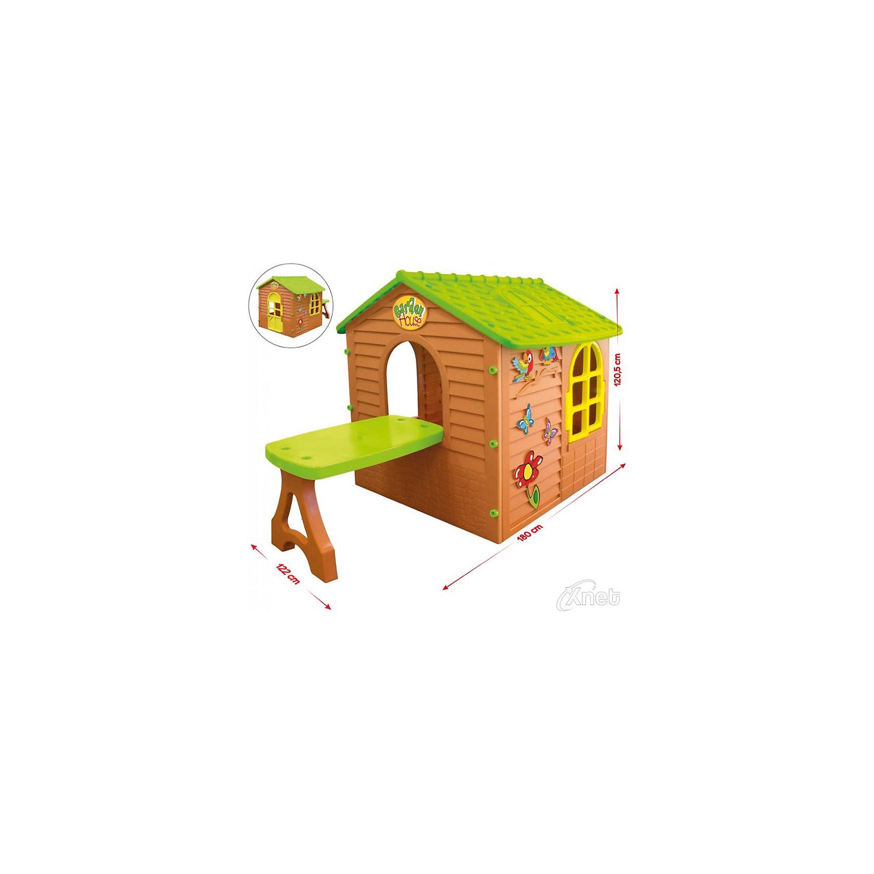 Домик со столом, MochtoysДомики и мебель<br>Домик со столом, Mochtoys.<br><br>Характеристики:<br><br>• Для детей в возрасте: от 1 года<br>• Размер домика со столом: 180х122х120,5 см.<br>• Конструкция сборная (собирается с помощью пластиковых болтов и гаек)<br>• Материал: пластик<br>• Цвета: зеленый, желтый, коричневый<br>• Размер упаковки: 19х104х124 см.<br>• Вес: 18,55 кг.<br><br>Домик со столом, Mochtoys идеально подойдет для игр вашего ребенка на открытом воздухе и в помещении! Размеры домика достаточны, чтобы вместить несколько детей одновременно, что обеспечивает невероятные возможности для совместных игр малышей. В домике есть окна и дверь арочной формы. Одно из окон оборудовано открывающейся рамой. Дверь домика открывается. Кроме того, к тыльной стороне фасада к домику прикрепляется достаточно длинный и вместительный столик, который ребенок сможет использовать для настольных игр или угощений. Одна из стен домика украшена бабочками, попугайчиками и цветком. На крыше имитация черепицы и мансардного окна. Дизайн домика продуман таким образом, что у ребенка создается полное впечатление того, что он находится в настоящем доме. Все детали дома надежно фиксируются между собой и не разбалтываются при активной эксплуатации. Конструкция домика устойчивая и надежная, острые края отсутствуют, поэтому он абсолютно безопасен для детей. Изделие выполнено в соответствии с европейскими стандартами качества из высококачественного, прочного пластика. Материал не выгорает на солнце и морозоустойчив (не боится морозов до -15 градусов). Домик прост в уходе, его можно мыть на даче из шланга проточной водой.<br><br>Домик со столом, Mochtoys можно купить в нашем интернет-магазине.<br><br>Ширина мм: 1220<br>Глубина мм: 1800<br>Высота мм: 1205<br>Вес г: 18550<br>Возраст от месяцев: 12<br>Возраст до месяцев: 120<br>Пол: Унисекс<br>Возраст: Детский<br>SKU: 5510710