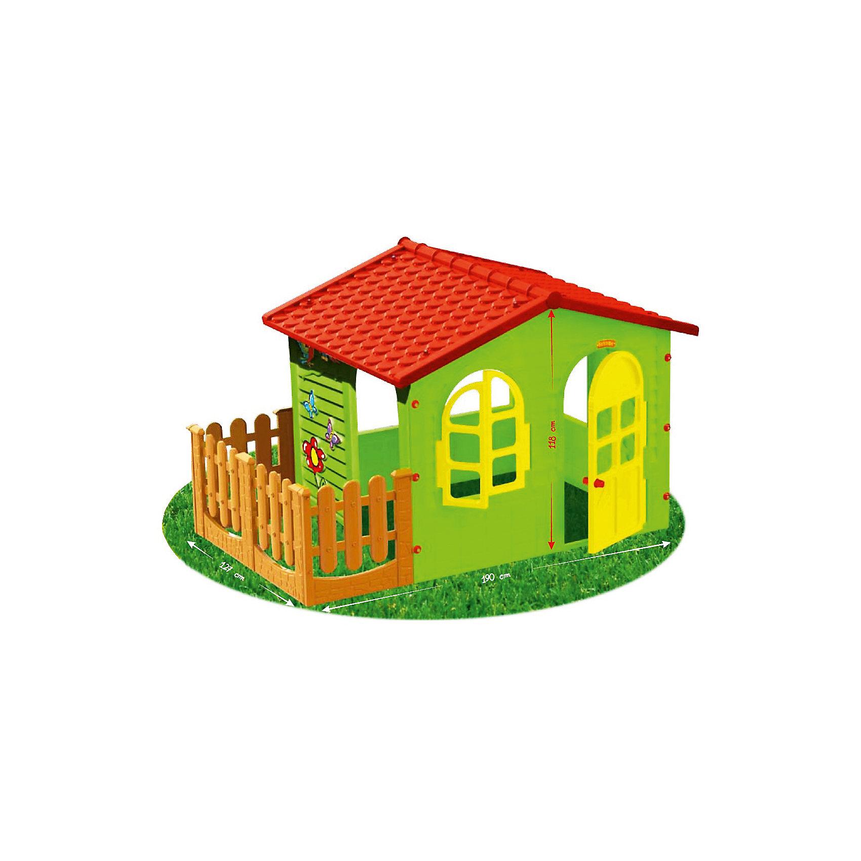 Домик с забором-садовый, MochtoysДомики и мебель<br>Домик с забором-садовый, Mochtoys.<br><br>Характеристики:<br><br>• Для детей в возрасте: от 1 года<br>• Размер домика с забором: 190 х 127 х 118 см.<br>• Размер домика без забора: 150 х 127 х 118 см.<br>• Конструкция сборная (собирается с помощью пластиковых болтов и гаек)<br>• Материал: пластик<br>• Цвета: зеленый, красный, желтый, коричневый<br>• Размер упаковки: 115х20х132 см.<br>• Вес: 21,2 кг.<br><br>Домик с забором-садовый, Mochtoys идеально подойдет для игр вашего ребенка на открытом воздухе и в помещении! Размеры домика достаточны, чтобы вместить несколько детей одновременно, что обеспечивает невероятные возможности для совместных игр малышей. В домике есть окна, дверь и дверной проем, для выхода во дворик огороженный забором. Одно из окон оборудовано открывающейся рамой. Дверь домика открывается. Одна из стен домика украшена бабочками, попугайчиками и цветком. На крыше имитация черепицы. Двор домика отгорожен коричневым декоративным заборчиком, что создает дополнительное игровое пространство, которое можно использовать для игры в теремок, прятки, в магазин, а также дети смогут там размещать цветочные горшки с настоящими цветами, поливать их, заботиться о них. Дизайн домика продуман таким образом, что у ребенка создается полное впечатление того, что он находится в настоящем доме. Все детали дома надежно фиксируются между собой и не разбалтываются при активной эксплуатации. Конструкция домика устойчивая и надежная, острые края отсутствуют, поэтому он абсолютно безопасен для детей. Изделие выполнено в соответствии с европейскими стандартами качества из высококачественного, прочного пластика. Материал не выгорает на солнце и морозоустойчив (не боится морозов до -15 градусов). Домик прост в уходе, его можно мыть на даче из шланга проточной водой.<br><br>Домик с забором-садовый, Mochtoys можно купить в нашем интернет-магазине.<br><br>Ширина мм: 1900<br>Глубина мм: 1270<br>Высота мм: 1180<br>Вес г: 21200<br>Возра