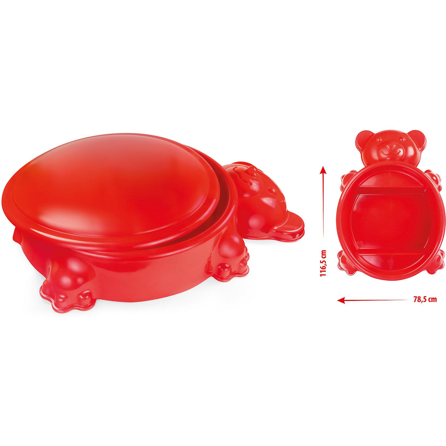 Песочница мишка с крышкой, MochtoysИграем в песочнице<br>Песочница мишка с крышкой, Mochtoys.<br><br>Характеристики:<br><br>• Для детей в возрасте: от 1 года<br>• Размер без крышки: 116,5х78,5х20 см.<br>• Внутренний размер: 73х 6 см.<br>• Высота с крышкой: 25 см.<br>• Материал: пластик<br>• Цвет: красный<br>• Вес: 3,54 кг.<br><br>Яркая песочница изготовлена из высококачественного экологически чистого пластика, устойчивого к воздействию температур. Поверхность песочницы не выгорает на солнце. Изделие можно использовать как песочницу, бассейн, контейнер для хранения игрушек. Песочница выполнена в виде забавного медвежонка. Внутри есть 2 выступа, выполняющие функции скамеечек. Для защиты от грязи и мусора песочницу можно закрыть крышкой. В закрытом виде может использоваться как столик.<br><br>Песочницу мишка с крышкой, Mochtoys можно купить в нашем интернет-магазине.<br><br>Ширина мм: 1165<br>Глубина мм: 785<br>Высота мм: 250<br>Вес г: 3540<br>Возраст от месяцев: 12<br>Возраст до месяцев: 84<br>Пол: Унисекс<br>Возраст: Детский<br>SKU: 5510720