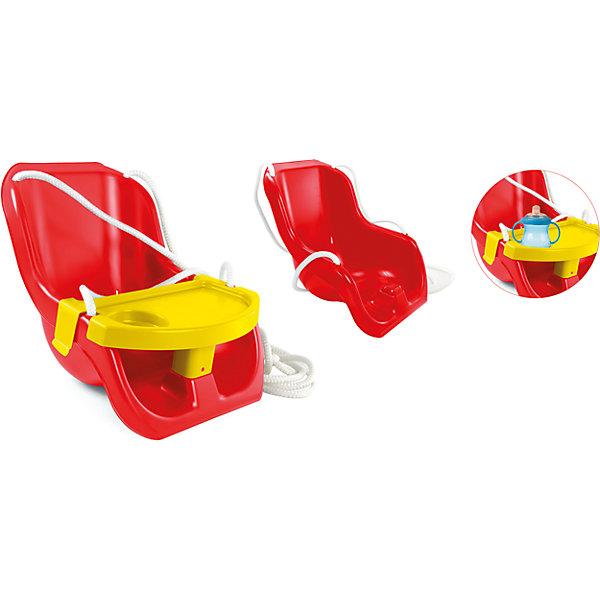Качели 2 в 1, MochtoysКачели и качалки<br>Качели 2 в 1, Mochtoys.<br><br>Характеристики:<br><br>• Для детей в возрасте: от 1 года<br>• Максимальная нагрузка: 20 кг.<br>• Комплектация: качели со съемным столиком, веревка<br>• Размер: 33,5х28х43 см.<br>• Вес: 1,5 кг.<br>• Материал качелей: пластик<br>• Цвет: красный, желтый<br>• Упаковка: полиэтиленовая пленка<br><br>Яркие легкие подвесные качели Mochtoys со столиком пригодятся для игры дома и на улице. Сиденье округлой анатомической формы с высокой спинкой дополнено прочной синтетической веревкой, за которую качели можно повесить в любом удобном месте. Качели можно использовать в двух вариантах, в зависимости от возраста малыша. Для самых маленьких пригодится съемный столик с перемычкой между ножек и углублением для бутылочки. С ним мама может не переживать за безопасность маленького непоседы, а малыш может сидеть на качелях, как в стульчике для кормления, играя или перекусывая. Когда ребенок подрастет, столик-бампер можно будет снять. Все края качелей закруглены. Качели изготовлены из прочного качественного пластика, который не деформируется и не выгорает. Товар сертифицирован.<br><br>Качели 2 в 1, Mochtoys можно купить в нашем интернет-магазине.<br>Ширина мм: 335; Глубина мм: 280; Высота мм: 430; Вес г: 6470; Возраст от месяцев: 12; Возраст до месяцев: 84; Пол: Унисекс; Возраст: Детский; SKU: 5510721;