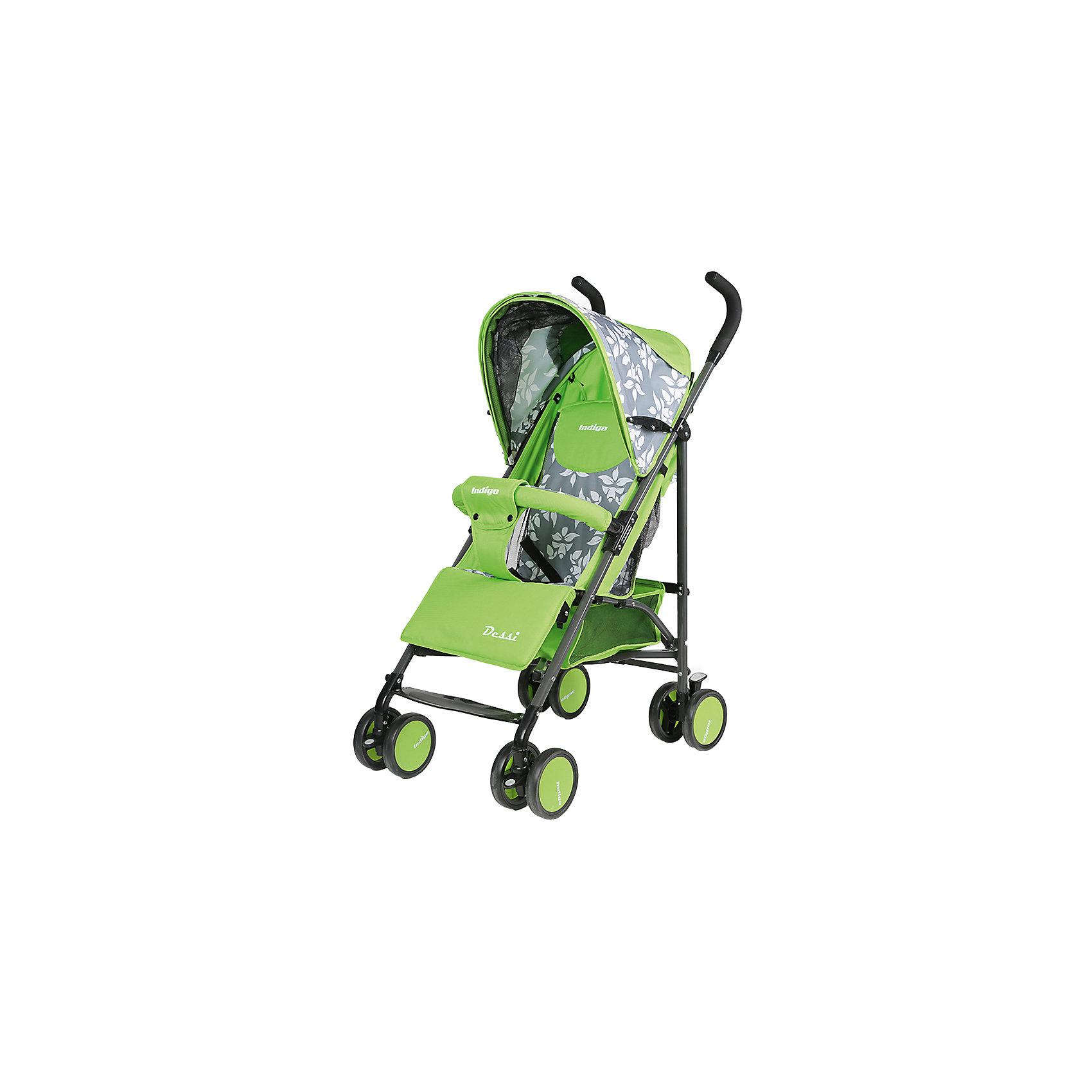 Коляска-трость Indigo DESSI, зеленыйНедорогие коляски<br>Характеристики коляски-трости Indigo DESSI<br><br>Прогулочный блок:<br><br>• регулируемая спинка: угол наклона 165 градусов;<br>• регулируемая подножка, 2 положения;<br>• 2-х точечные ремни безопасности;<br>• смотровое сетчатое окошко под клапаном на липучке; <br>• капюшон оснащен дополнительной сетчатой вставкой;<br>• кармашек под клапаном;<br>• фиксированный бампер не снимается, обтянут тканью;<br>• имеется разделитель для ножек.<br><br>Рама коляски: <br><br>• сдвоенные колеса: плавающие передние с блокировкой, задние оснащены тормозом;<br>• механизм складывания: трость;<br>• диаметр колес: 14 см;<br>• материал колес - пластик.<br><br>Размер коляски в сложенном виде: 102х13,5х18 см<br>Вес коляски: 7,7 кг<br>Вес в упаковке: 8 кг<br><br>Коляску-трость DESSI, Indigo, зеленый цвет можно купить в нашем интернет-магазине.<br><br>Ширина мм: 1020<br>Глубина мм: 135<br>Высота мм: 180<br>Вес г: 4000<br>Возраст от месяцев: 12<br>Возраст до месяцев: 36<br>Пол: Унисекс<br>Возраст: Детский<br>SKU: 5511822