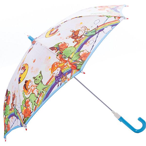Зонт-трость, детский Zest, со светодиодами, рисунок На радуге,Зонты детские<br>Красочный детский зонтик Zest трость, механика, 8 спиц, купол 72 см, материал купола полиэстер, ручка зонта из пластика, материал каркаса - сталь. Концы спиц зонтика прикрыты специальными колпачками. ВЕТРОУСТОЙЧИВАЯ КОНСТРУКЦИЯ. Внимание! В сильный ветер не эксплуатировать! Зонт может сломаться. Гарантия 6 месяцев, срок службы 5 лет.<br><br>Ширина мм: 680<br>Глубина мм: 0<br>Высота мм: 0<br>Вес г: 310<br>Цвет: rosa-kombi<br>Возраст от месяцев: 36<br>Возраст до месяцев: 2147483647<br>Пол: Унисекс<br>Возраст: Детский<br>SKU: 5511986