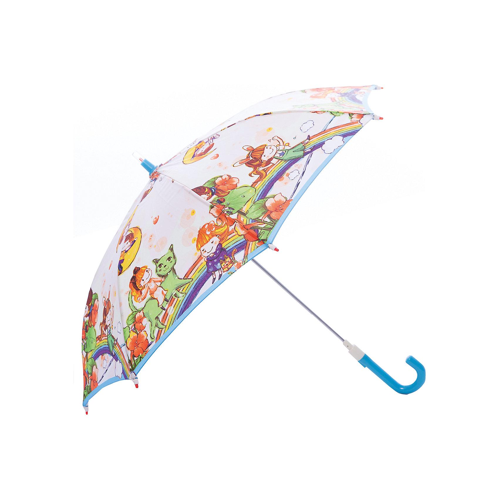 Зонт-трость, детский, рисунок На радугеКрасочный детский зонтик Zest 21551  со светодиодами (на кончиках спиц и на куполе в центре), трость, механика, 8 спиц, купол 78 см, материал купола полиэстер, ручка зонта из пластика, материал каркаса - сталь. Концы спиц зонтика прикрыты специальными колпачками-лампочками. ВЕТРОУСТОЙЧИВАЯ КОНСТРУКЦИЯ. Внимание! В сильный ветер не эксплуатировать! Зонт может сломаться. Гарантия 6 месяцев, срок службы 5 лет. Необходимы 2 батарейки типа ААА<br><br>Ширина мм: 680<br>Глубина мм: 9999<br>Высота мм: 680<br>Вес г: 310<br>Возраст от месяцев: 36<br>Возраст до месяцев: 2147483647<br>Пол: Унисекс<br>Возраст: Детский<br>SKU: 5511986