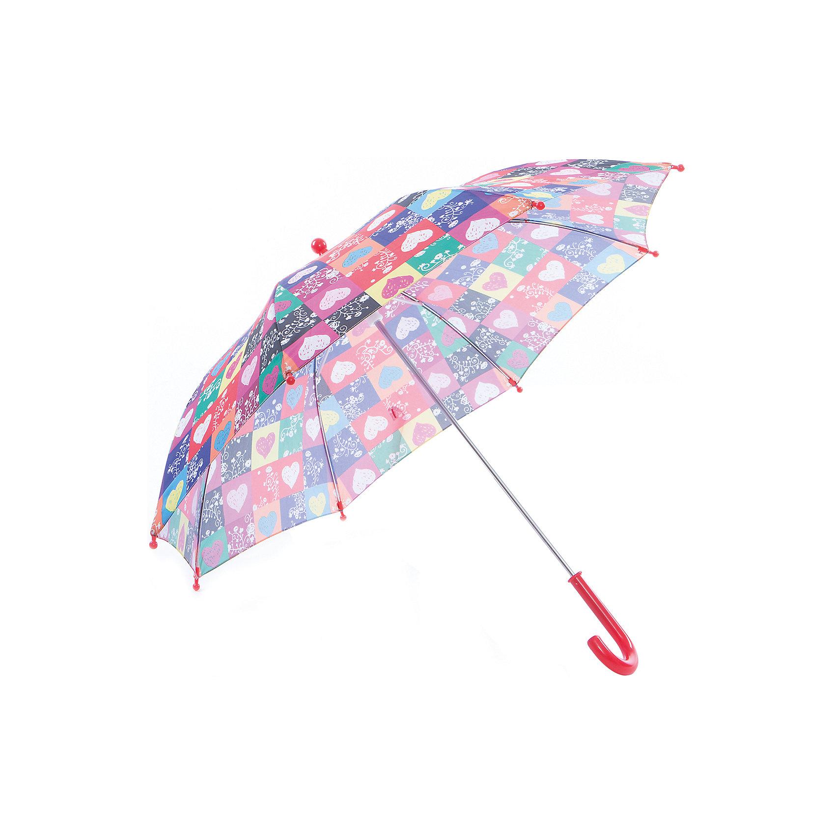 Зонт-трость, детский, рисунок СердечкиЗонты детские<br>Красочный детский зонтик Zest 81561, трость, механика, 8 спиц, купол 72 см, материал купола полиэстер, ручка зонта из пластика, материал каркаса - сталь. Концы спиц зонтика прикрыты специальными колпачками. ВЕТРОУСТОЙЧИВАЯ КОНСТРУКЦИЯ. Внимание! В сильный ветер не эксплуатировать! Зонт может сломаться. Гарантия 6 месяцев, срок службы 5 лет.<br><br>Ширина мм: 570<br>Глубина мм: 0<br>Высота мм: 0<br>Вес г: 205<br>Возраст от месяцев: 36<br>Возраст до месяцев: 2147483647<br>Пол: Унисекс<br>Возраст: Детский<br>SKU: 5511998