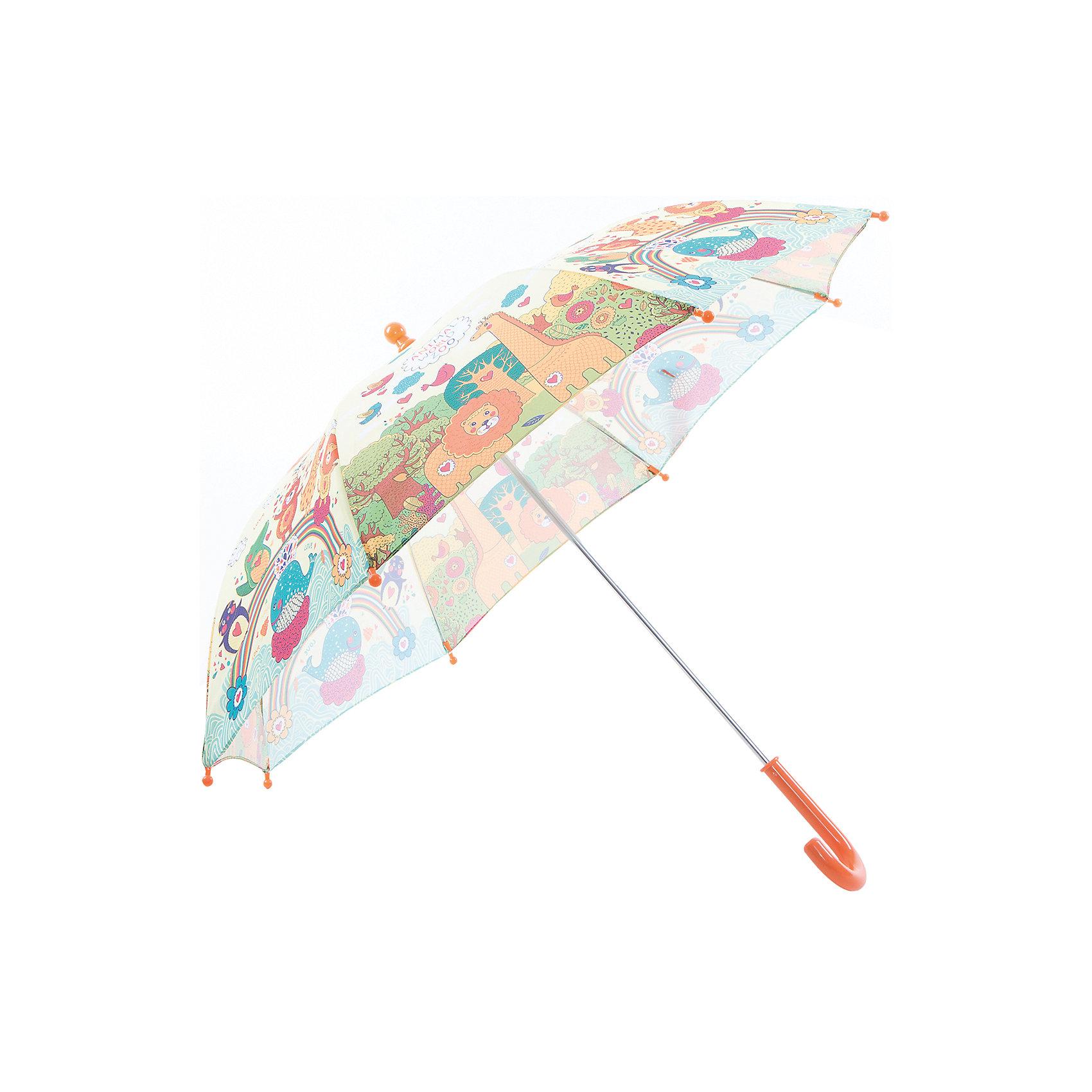Зонт-трость, детский, рисунок ЗоопаркКрасочный детский зонтик Zest 81561, трость, механика, 8 спиц, купол 72 см, материал купола полиэстер, ручка зонта из пластика, материал каркаса - сталь. Концы спиц зонтика прикрыты специальными колпачками. ВЕТРОУСТОЙЧИВАЯ КОНСТРУКЦИЯ. Внимание! В сильный ветер не эксплуатировать! Зонт может сломаться. Гарантия 6 месяцев, срок службы 5 лет.<br><br>Ширина мм: 570<br>Глубина мм: 0<br>Высота мм: 0<br>Вес г: 205<br>Возраст от месяцев: 36<br>Возраст до месяцев: 2147483647<br>Пол: Унисекс<br>Возраст: Детский<br>SKU: 5511999