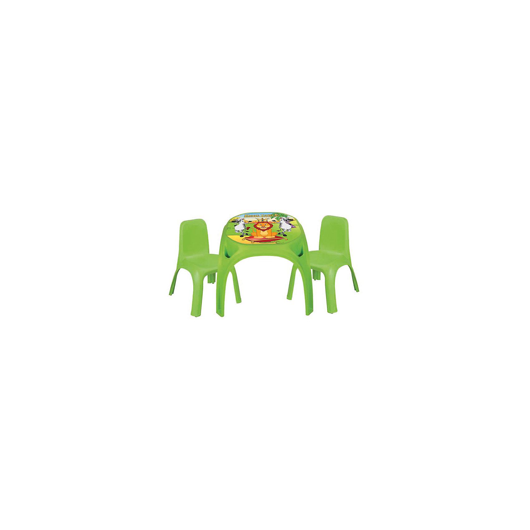 Стол с двумя стульями для детей King, PILSAN, зеленыйДомики и мебель<br>Характеристики товара:<br><br>• возраст: от 3 лет<br>• стол с двумя кармашками по бокам<br>• красочная картинка на столешнице<br>• в комплекте: стол, 2 стула<br>• материал: пластик<br>• размер стола: 64,5х64,5х50,5 см<br>• размер стула: 43х43х56 см<br>• максимальная нагрузка: 50 кг<br>• размер упаковки: 52х62х62 см<br>• вес: 7 кг<br><br>Набор King Pilsan состоит из стола и двух стульев, который можно использовать как для развивающих и творческих занятий, так и для приема пищи. <br><br>Стол оснащен двумя кармашками для письменных принадлежностей или небольших игрушек. Столешница оформлена красочным рисунком. <br><br>Мебель изготовлена из высококачественного безопасного пластика, окрашенного нетоксичными красками.<br><br>Стол с двумя стульями для детей King, PILSAN (Пилсан) вы можете купить в нашем интернет-магазине.<br><br>Ширина мм: 620<br>Глубина мм: 620<br>Высота мм: 520<br>Вес г: 7000<br>Возраст от месяцев: 36<br>Возраст до месяцев: 120<br>Пол: Унисекс<br>Возраст: Детский<br>SKU: 5512010