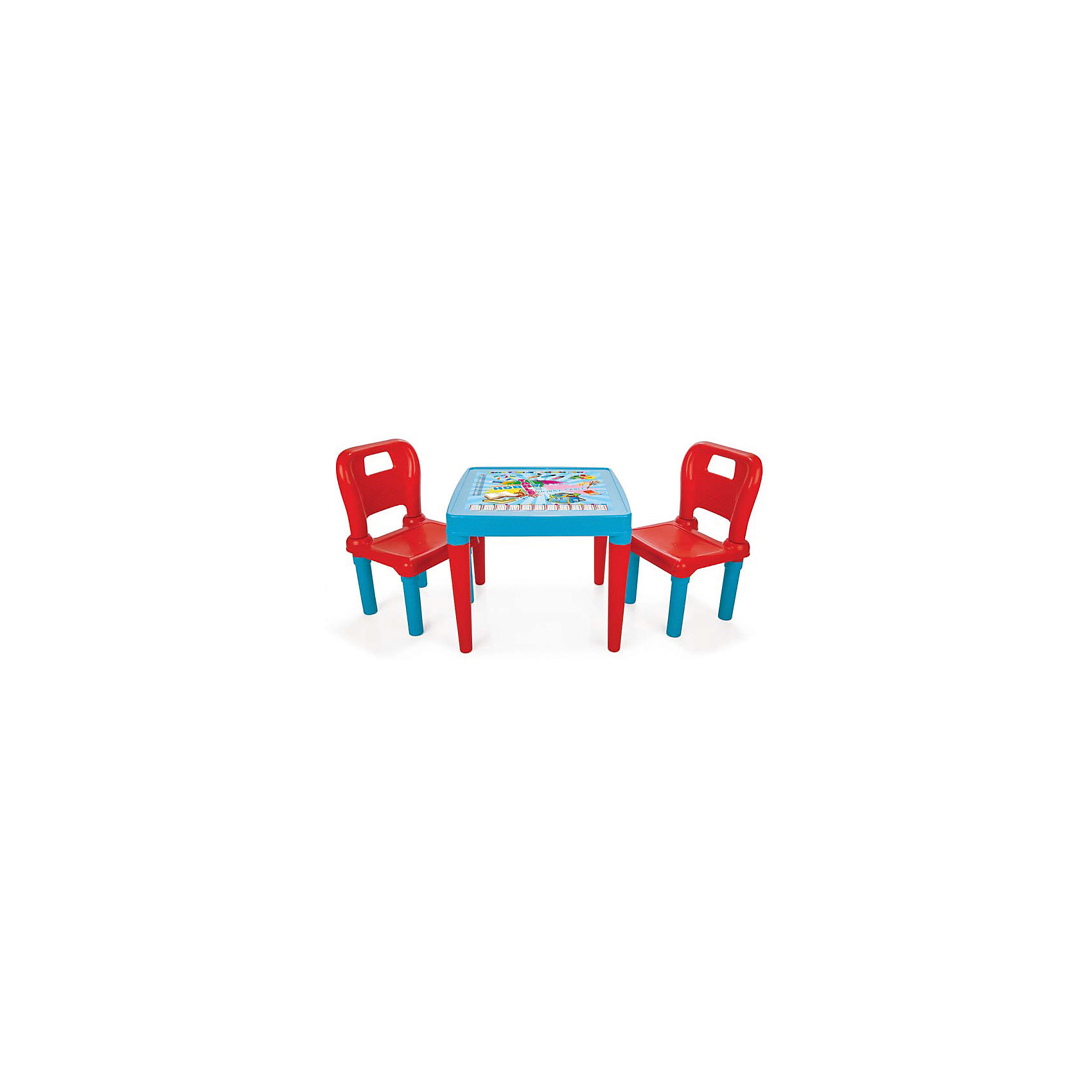 Столик с двумя стульчиками Menekse &amp; Hobby, PILSANСтолик с двумя стульчиками Menekse &amp; Hobby, PILSAN (Пилсан)<br><br>Характеристики:<br><br>• легко собирается<br>• стол декорирован яркой картинкой<br>• высокая устойчивость<br>• изготовлены из прочных безопасных материалов<br>• в комплекте: стол, 2 стула<br>• размер стола: 64,5х64,5х50 см<br>• размер стула: 30х32х52,5 см<br>• размер упаковки: 51х50х18 СМ<br>• вес: 3,4 КГ<br><br>Ребенок с удовольствием приступит к развивающим и творческим занятиям, если у него есть красивое рабочее место. Набор Menekse &amp; Hobby состоит из стола и двух стульчиков яркой расцветки. Они изготовлены из качественного прочного пластика, безопасного для детского здоровья. Столик и стулья легко собираются. Столешница декорирована яркой картинкой для привлечения внимания малыша. Набор отлично подходит для занятий, творчества и настольных игр.<br><br>Столик с двумя стульчиками Menekse &amp; Hobby, PILSAN (Пилсан) можно купить в нашем интернет-магазине.<br><br>Ширина мм: 180<br>Глубина мм: 500<br>Высота мм: 510<br>Вес г: 3400<br>Возраст от месяцев: 36<br>Возраст до месяцев: 120<br>Пол: Унисекс<br>Возраст: Детский<br>SKU: 5512011
