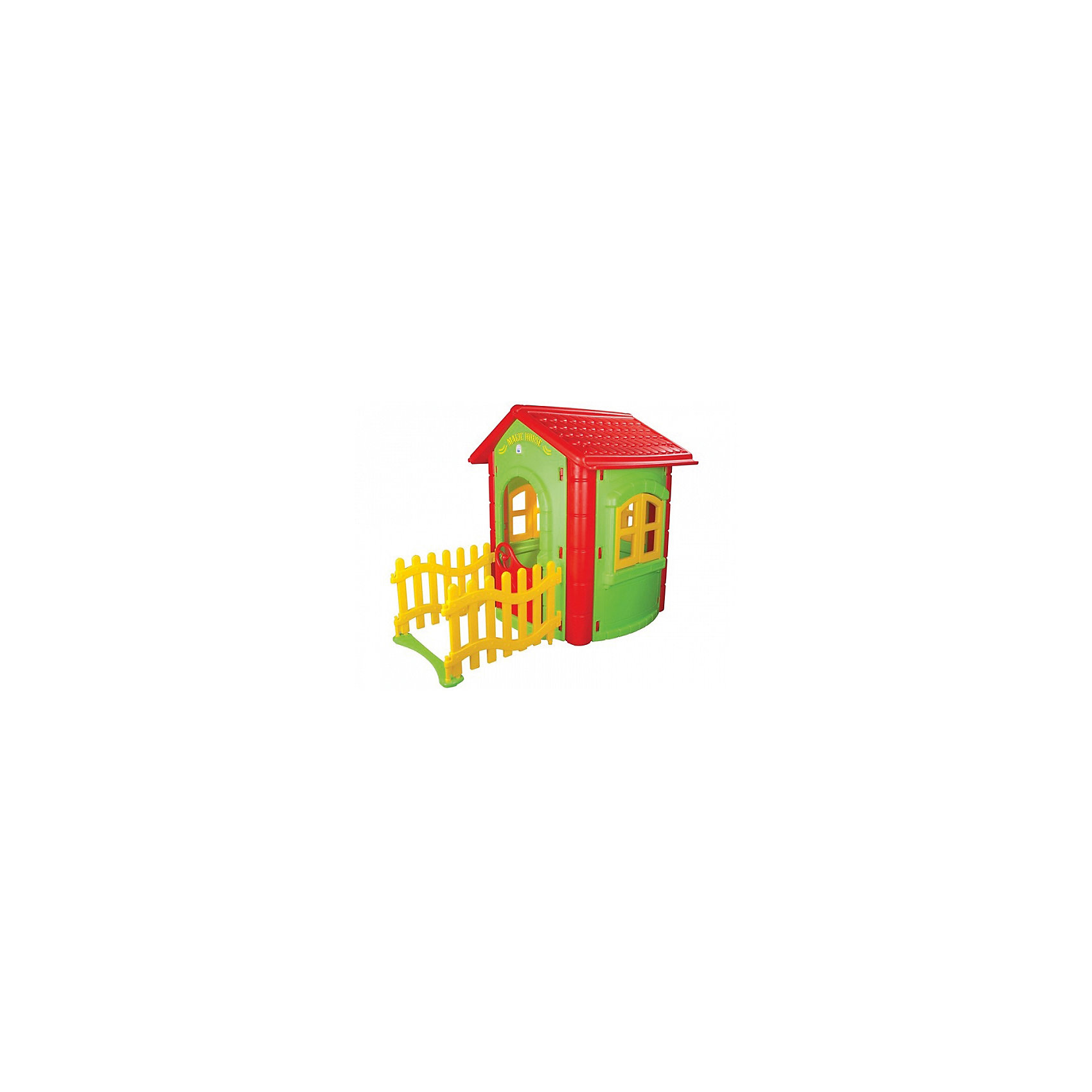 Домик игровой с забором MAGIC, PILSANДомики и мебель<br>Характеристики товара:<br><br>• цвет: зеленый, красный<br>• возраст: с 2 лет<br>• прочная конструкция<br>• привлекательный дизайн<br>• безопасные материалы<br>• вместительное внутреннее пространство<br>• легко собирается<br>• материал: пластик<br>• размер: 112х172х131 см<br>• размер упаковки: 70х130х45 см<br>• вес: 22,5 кг<br><br>Яркий игровой домик - отличный подарок для ребенка. Малыш сможет устраивать веселые игры и чаепития со своими друзьями. <br><br>Домик дополнен красивым заборчиком и декоративными элементами. Конструкция изготовлена из прочного пластика, безопасного для детского здоровья. Она устойчива к воздействию осадков и атмосферных явлений. <br><br>Домик легко собирается. Вы сможете установить его в детской комнате или на улице.<br><br>Домик игровой с забором MAGIC, PILSAN (Пилсан) вы можете купить в нашем интернет-магазине.<br><br>Ширина мм: 450<br>Глубина мм: 1300<br>Высота мм: 700<br>Вес г: 22500<br>Возраст от месяцев: 24<br>Возраст до месяцев: 120<br>Пол: Унисекс<br>Возраст: Детский<br>SKU: 5512016