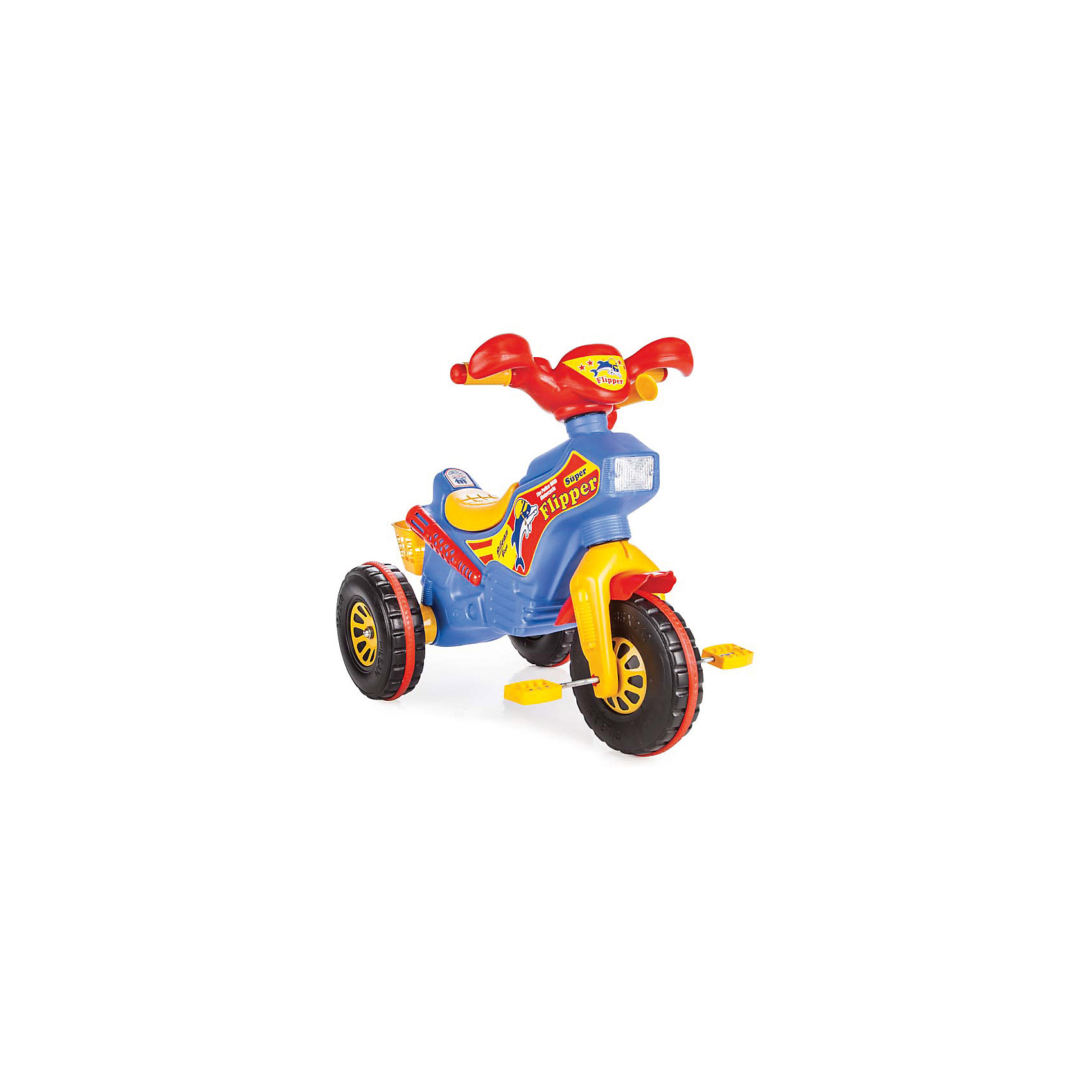 Велосипед FLIPPER 2-4 лет в пакете, PILSANВелосипеды детские<br>Характеристики товара:<br><br>• цвет: голубой<br>• возраст: от 3 лет<br>• эргономичная форма сиденья<br>• устойчивые колеса<br>• специальное соединение колесной и рулевой базы<br>• корзина для перевозки игрушек<br>• клаксон<br>• максимальная нагрузка: 50 кг<br>• материал: пластик<br>• размер упаковки: 63х80х44 см<br>• вес: 4,7 кг<br><br>Велосипед FLIPPER выполнен в виде яркого мотоцикла. <br><br>Велосипед имеет удобное сиденье и устойчивые колеса. <br><br>Оснащен клаксоном и корзинкой для перевозки игрушек. <br><br>Небольшой вес позволяет брать велосипед на прогулку. <br><br>Способствует развитию опорно-двигательного аппарата. <br><br>Изготовлен из прочного высококачественного пластика.<br><br>Велосипед FLIPPER 2-4 лет в пакете, PILSAN (Пилсан) вы можете купить в нашем интернет-магазине.<br><br>Ширина мм: 440<br>Глубина мм: 800<br>Высота мм: 630<br>Вес г: 4700<br>Возраст от месяцев: 36<br>Возраст до месяцев: 72<br>Пол: Унисекс<br>Возраст: Детский<br>SKU: 5512054