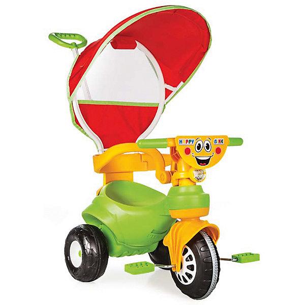 Велосипед HAPPY с р/у и крышей в коробке, PILSANВелосипеды детские<br>Характеристики товара:<br><br>• цвет: зеленый<br>• возраст: от 2 лет<br>• эргономичная форма сиденья<br>• родительская ручка управления<br>• устойчивые колеса<br>• ограничители<br>• система блокировки педалей<br>• защита от солнца<br>• максимальная нагрузка: 50 кг<br>• материал: пластик<br>• размер упаковки: 49х67х41 см<br>• вес: 4,84 кг<br><br>Яркий велосипед HAPPY поможет ребенку передвигаться самостоятельно или при помощи родителей. <br><br>Велосипед оснащен ограничителями, препятствующими падению малыша. Родительская ручка управления позволит вам контролировать процесс поездки. <br><br>Устойчивые колеса хорошо передвигаются по дороге. Зонт защитит ребенка от воздействия прямых солнечных лучей. <br><br>Красочная расцветка придется по вкусу вашему малышу! <br><br>Способствует развитию координации и опорно-двигательного аппарата. Велосипед изготовлен из высококачественного пластика.<br><br>Велосипед HAPPY с р/у и крышей в коробке, PILSAN (Пилсан) вы можете купить в нашем интернет-магазине.<br><br>Ширина мм: 410<br>Глубина мм: 670<br>Высота мм: 490<br>Вес г: 4840<br>Возраст от месяцев: 24<br>Возраст до месяцев: 72<br>Пол: Унисекс<br>Возраст: Детский<br>SKU: 5512055