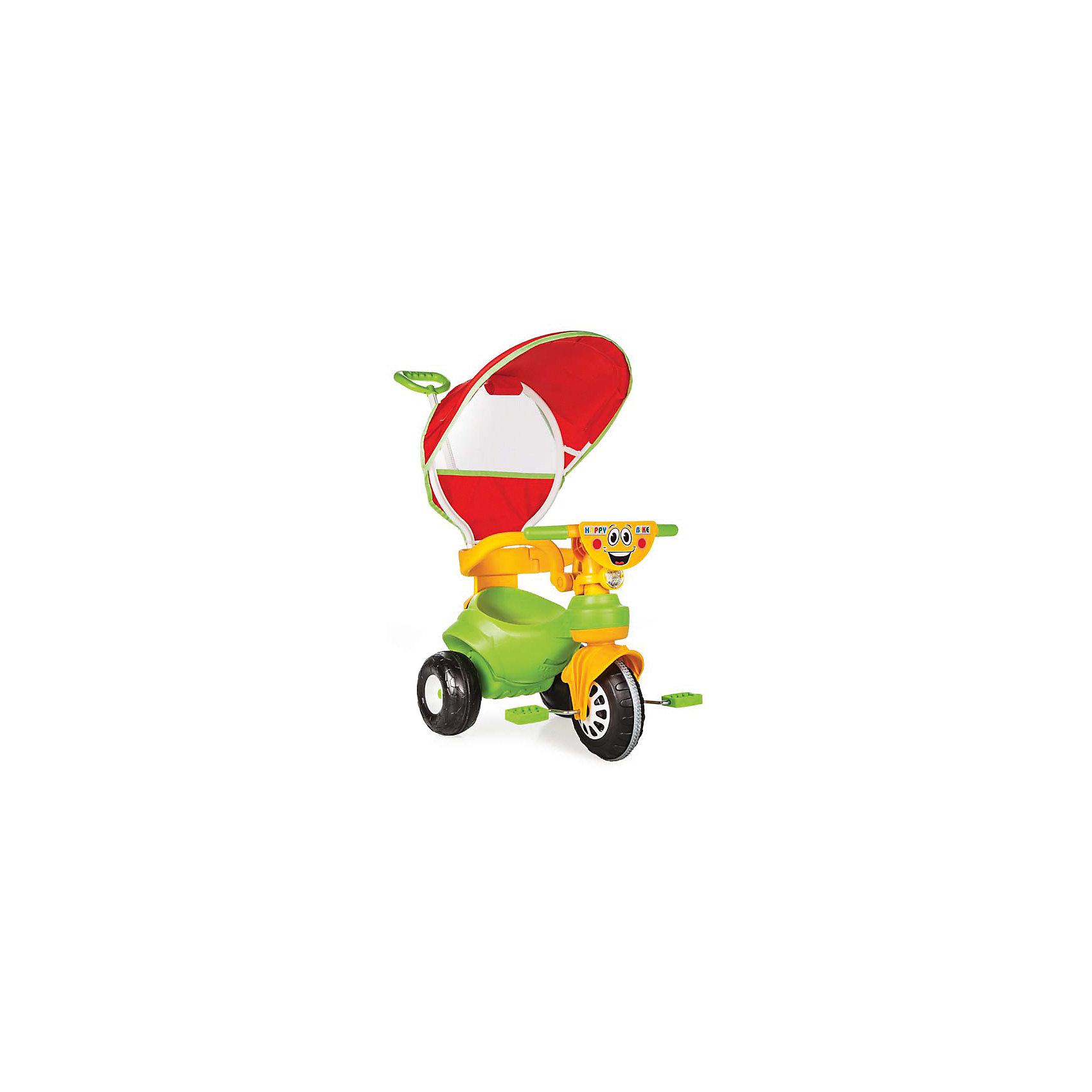 Велосипед HAPPY с р/у и крышей в коробке, PILSANВелосипеды детские<br>Велосипед HAPPY с р/у и крышей в коробке, PILSAN (Пилсан)<br><br>Характеристики:<br><br>• эргономичная форма сиденья<br>• родительская ручка управления<br>• устойчивые колеса<br>• ограничители<br>• система блокировки педалей<br>• защита от солнца<br>• максимальная нагрузка: 50 кг<br>• материал: пластик<br>• размер упаковки: 49х67х41 см<br>• вес: 4,84 кг<br><br>Яркий велосипед HAPPY поможет ребенку передвигаться самостоятельно или при помощи родителей. Велосипед оснащен ограничителями, препятствующими падению малыша. Родительская ручка управления позволит вам контролировать процесс поездки. Устойчивые колеса хорошо передвигаются по дороге. Зонт защитит ребенка от воздействия прямых солнечных лучей. Красочная расцветка придется по вкусу вашему малышу! Способствует развитию координации и опорно-двигательного аппарата. Велосипед изготовлен из высококачественного пластика. Максимальная нагрузка - 50 кг.<br><br>Велосипед HAPPY с р/у и крышей в коробке, PILSAN (Пилсан) вы можете купить в нашем интернет-магазине.<br><br>Ширина мм: 410<br>Глубина мм: 670<br>Высота мм: 490<br>Вес г: 4840<br>Возраст от месяцев: 24<br>Возраст до месяцев: 72<br>Пол: Унисекс<br>Возраст: Детский<br>SKU: 5512055