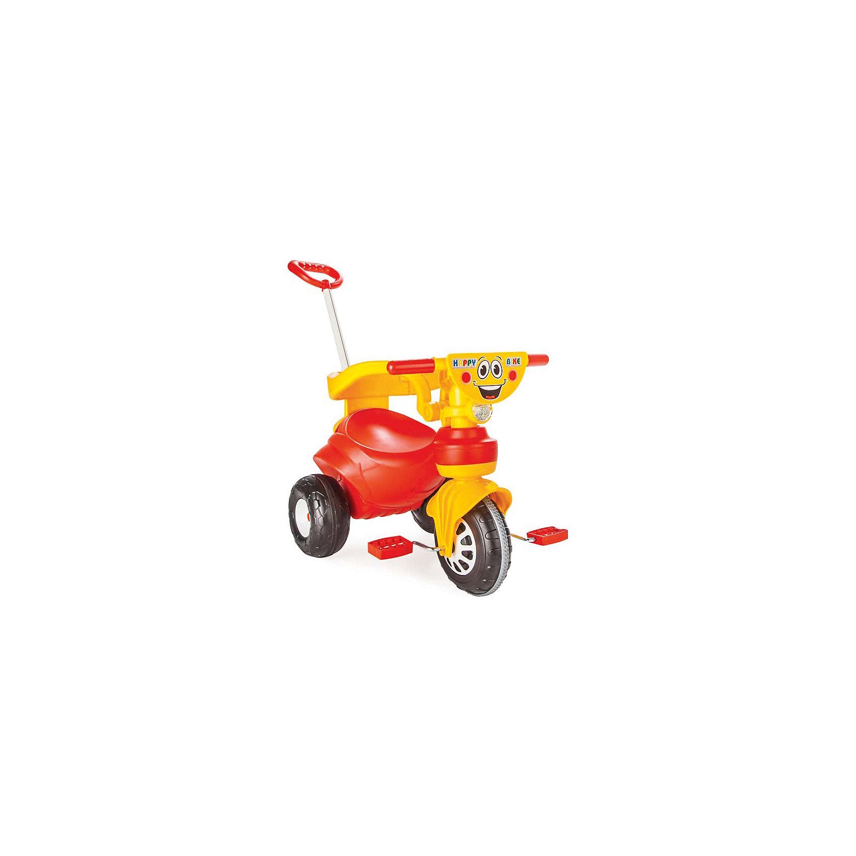 Велосипед HAPPY с ручкой управления в коробке, PILSANВелосипеды детские<br>Характеристики товара:<br><br>• цвет: красный<br>• возраст: от 2 лет<br>• эргономичная форма сиденья<br>• родительская ручка управления<br>• устойчивые колеса<br>• съемные ограничители<br>• максимальная нагрузка: 50 кг<br>• материал: пластик<br>• размер упаковки: 49х67х41 см<br>• вес: 4,57 кг<br><br>Яркий велосипед HAPPY поможет ребенку передвигаться самостоятельно или при помощи родителей. <br><br>Велосипед оснащен съемными ограничителями, препятствующими падению малыша. <br><br>Родительская ручка управления позволит вам контролировать процесс поездки. <br><br>Широкие колеса хорошо передвигаются по дороге. <br><br>Красочный эргономичный дизайн придется по вкусу вашему малышу! <br><br>Способствует развитию координации и опорно-двигательного аппарата. <br><br>Велосипед HAPPY с ручкой управления в коробке, PILSAN (Пилсан) можно купить в нашем интернет-магазине.<br><br>Ширина мм: 410<br>Глубина мм: 670<br>Высота мм: 490<br>Вес г: 4570<br>Возраст от месяцев: 36<br>Возраст до месяцев: 84<br>Пол: Унисекс<br>Возраст: Детский<br>SKU: 5512056