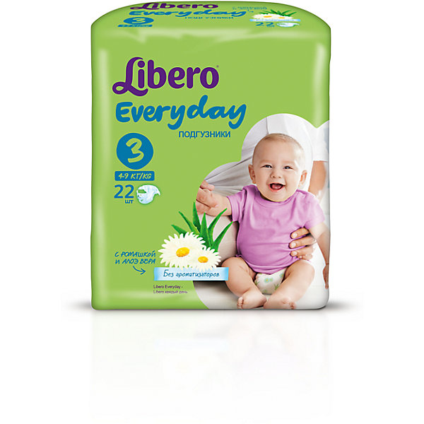 Подгузники Everyday, Midi 4-9 кг (3), 22 шт., LiberoПодгузники классические<br>Характеристики:<br><br>• вес ребёнка: 4-9кг.;<br>• количество в упаковке: 22шт.;<br>• для детей в возрасте: с рождения;<br>• дышащий материал быстро впитывает влагу;<br>• эластичный пояс;<br>• индикатор влаги;<br>• вес упаковки: 400г;<br>• упаковка: пакет;<br>• размер упаковки: 10х14х20см.;<br>• страна бренда: Швеция.<br><br>Подгузники «Libero Everyday» (Либеро Эвридэй) Midi станут отличным приобретением для самых маленьких детишек. Они созданы из высококачественных, экологически чистых материалов, что очень важно для детских товаров.<br><br>В удобных подгузниках с привлекательным рисунком малыш будет сухо и комфортно себя чувствовать, особенно во время сна и долгих прогулок. Дышащий нетканый материал быстро впитывает влагу и специально создан для нежной кожи. В состав входят только натуральные экстракты ромашки и алоэ вера. Трусики плотно прилегают с помощью эластичного пояска. <br><br>Подгузники «Libero Everyday» (Либеро Эвридэй) Midi можно купить в нашем интернет-магазине.<br>Ширина мм: 127; Глубина мм: 147; Высота мм: 240; Вес г: 300; Возраст от месяцев: -2147483648; Возраст до месяцев: 2147483647; Пол: Унисекс; Возраст: Детский; SKU: 5512939;
