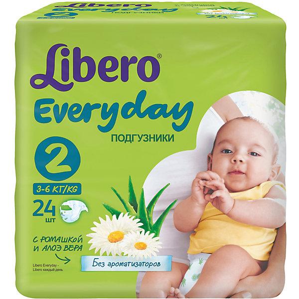 Подгузники Everyday, Mini 3-6 кг (2), 24 шт., LiberoПодгузники классические<br>Характеристики:<br><br>• вес ребёнка: 3-6кг.;<br>• для детей в возрасте: с рождения;<br>• дышащий материал быстро впитывает влагу;<br>• эластичный пояс;<br>• индикатор влаги;<br>• вес упаковки: 500г;<br>• упаковка: пакет;<br>• размер упаковки: 11х19х18см.;<br>• количество в упаковке: 24шт.;<br>• страна бренда: Швеция.<br><br>Подгузники «Libero Everyday» (Либеро Эвридэй) Mini станут отличным приобретением для самых маленьких детишек. Они созданы из высококачественных, экологически чистых материалов, что очень важно для детских товаров.<br><br>В удобных подгузниках с привлекательным рисунком малыш будет сухо и комфортно себя чувствовать, особенно во время сна и долгих прогулок. Дышащий нетканый материал быстро впитывает влагу и специально создан для нежной кожи. В состав входят только натуральные экстракты ромашки и алоэ вера. Трусики плотно прилегают с помощью эластичного пояска.  <br><br>Подгузники «Libero Everyday» (Либеро Эвридэй) Mini можно купить в нашем интернет-магазине.<br>Ширина мм: 127; Глубина мм: 147; Высота мм: 240; Вес г: 300; Возраст от месяцев: -2147483648; Возраст до месяцев: 2147483647; Пол: Унисекс; Возраст: Детский; SKU: 5512940;