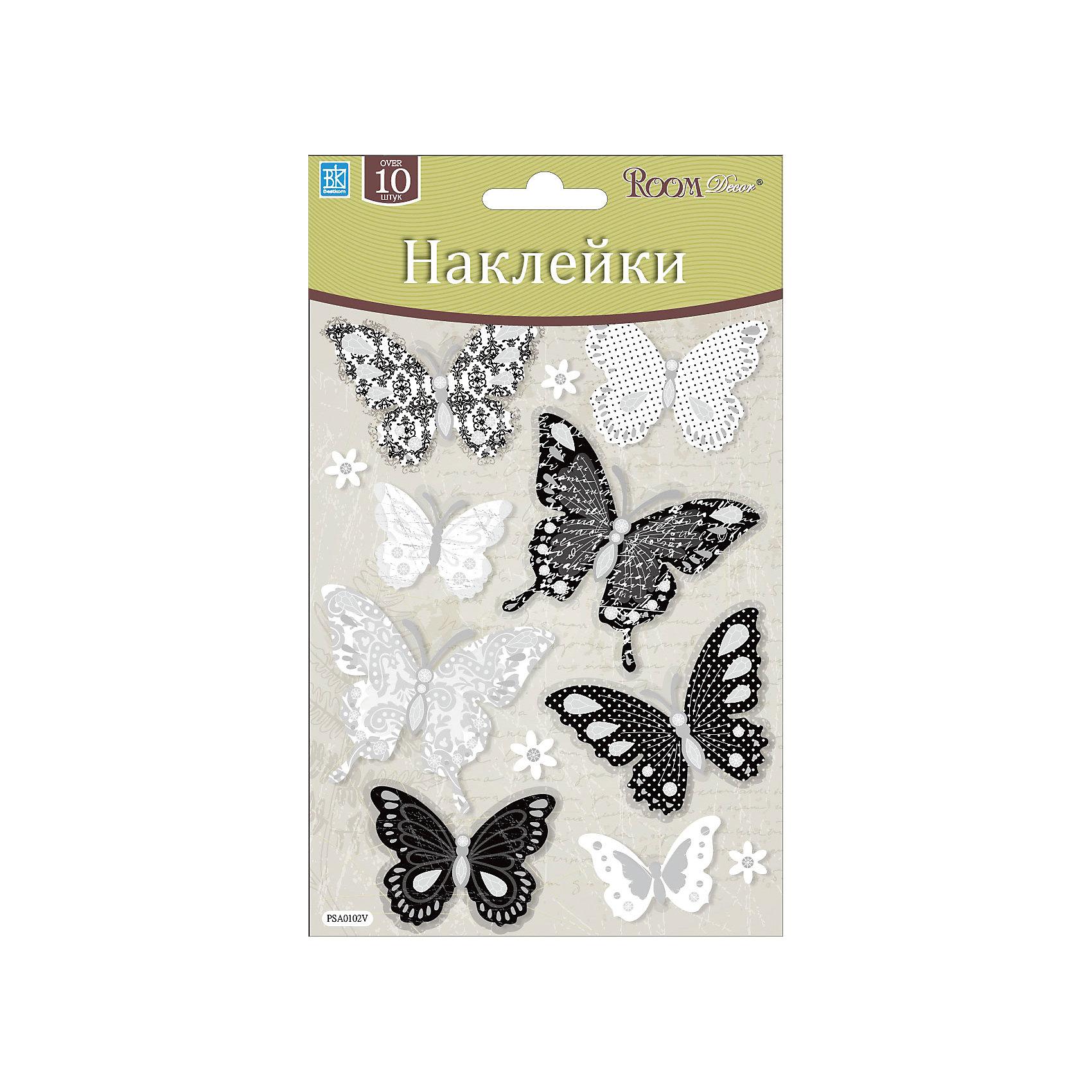 Наклейка Бабочки мини PSA 0102, Room Decor, черно-белый
