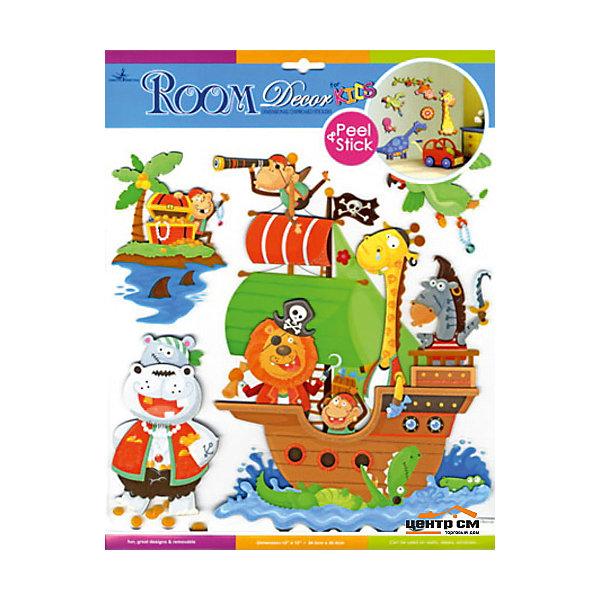 Наклейка Пираты CBA3101(3100), Room DecorДетские предметы интерьера<br>Характеристики:<br><br>• Предназначение: декор комнаты, создание творческой зоны в детской комнате<br>• Серия: Детские<br>• Тематика наклеек: пираты<br>• Материал: картон, ПВХ<br>• Комплектация: 4 элемента<br>• Форма: 3d<br>• Многослойные<br>• Декоративные элементы: блестки<br>• Клейкая поверхность крепится на окрашенные стены, обои, двери, деревянные панели, стекло<br>• Не повреждают поверхность<br>• Устойчивы к выцветанию и истиранию<br>• Размеры (Д*Ш*В): 30,5*7*30,5 см<br>• Вес: 50 г<br>• Упаковка: блистер<br><br>Все наклейки выполнены из безопасного и нетоксичного материала – ПВХ. Прочная клеевая основа обеспечивает надежное прикрепление практически к любому виду горизонтальной или вертикальной поверхности, при этом не деформируя и не повреждая ее. Наклейки обладают влагоустойчивыми свойствами, поэтому они хорошо переносят влажную уборку. <br><br>Наклейка Пираты CBA3101(3100), Room Decor состоит из набора, в который входят 4 элемента, изображающих собой корабль с пиратами и атрибутикой. В качестве пиратов представлены африканские животные: бегемот, лев, жираф, обезьяны и зебра. Набор выполнен в многослойном формате, что придает всей композиции 3d эффект. <br><br>Наклейку Пираты CBA3101(3100), Room Decor можно купить в нашем интернет-магазине.<br>Ширина мм: 305; Глубина мм: 70; Высота мм: 305; Вес г: 50; Возраст от месяцев: 36; Возраст до месяцев: 168; Пол: Мужской; Возраст: Детский; SKU: 5512975;