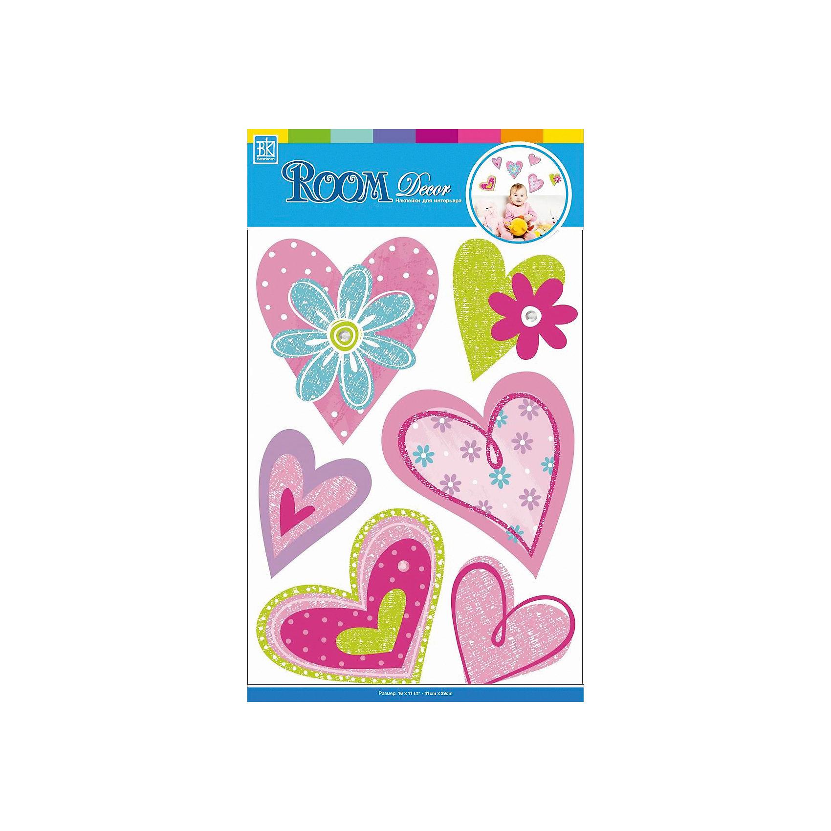 Наклейка Сердечки с цветами CBA3518, Room DecorПредметы интерьера<br>Характеристики:<br><br>• Предназначение: декор комнаты<br>• Серия: Романтика<br>• Тематика наклеек: сердечки, цветы<br>• Материал: картон, ПВХ<br>• Комплектация: 6 элементов<br>• Декоративные элементы: блестки<br>• Форма: 3d<br>• Многослойные<br>• Клейкая поверхность крепится на окрашенные стены, обои, двери, деревянные панели, стекло<br>• Не повреждают поверхность<br>• Устойчивы к выцветанию и истиранию<br>• Размеры (Д*Ш*В): 29*7*41 см<br>• Вес: 40 г<br>• Упаковка: блистер<br><br>Все наклейки выполнены из безопасного и нетоксичного материала – ПВХ. Прочная клеевая основа обеспечивает надежное прикрепление практически к любому виду горизонтальной или вертикальной поверхности, при этом не деформируя и не повреждая ее. Наклейки обладают влагоустойчивыми свойствами, поэтому они хорошо переносят влажную уборку. <br><br>Наклейка Сердечки с цветами CBA3518, Room Decor состоит сердечек разного размера и оттенков, декорированных блестками и цветами. <br><br>Наклейку Сердечки с цветами CBA3518, Room Decor можно купить в нашем интернет-магазине.<br><br>Ширина мм: 290<br>Глубина мм: 70<br>Высота мм: 410<br>Вес г: 40<br>Возраст от месяцев: 36<br>Возраст до месяцев: 168<br>Пол: Женский<br>Возраст: Детский<br>SKU: 5512976