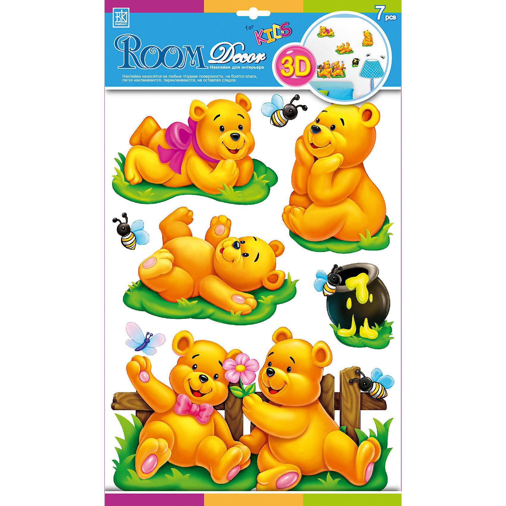 Наклейка Медвежата POA1001, Room DecorПредметы интерьера<br>Характеристики:<br><br>• Предназначение: декор комнаты, создание творческой зоны в детской комнате<br>• Серия: Детские<br>• Тематика наклеек: медвежата<br>• Материал: картон, ПВХ<br>• Комплектация: 7 элементов<br>• Форма: 3d<br>• Многослойные<br>• Клейкая поверхность крепится на окрашенные стены, обои, двери, деревянные панели, стекло<br>• Не повреждают поверхность<br>• Устойчивы к выцветанию и истиранию<br>• Повышенные влагостойкие свойства<br>• Размеры (Д*Ш*В): 30*7*42 см<br>• Вес: 50 г<br>• Упаковка: блистер<br><br>Все наклейки выполнены из безопасного и нетоксичного материала – ПВХ. Прочная клеевая основа обеспечивает надежное прикрепление практически к любому виду горизонтальной или вертикальной поверхности, при этом не деформируя и не повреждая ее. Наклейки обладают влагоустойчивыми свойствами, поэтому они хорошо переносят влажную уборку. <br><br>Наклейка Медвежата POA1001, Room Decor состоит из набора, в который входят 7 элементов, изображающих собой веселых медвежат, летающих пчел и горшочек меда. Набор выполнен в многослойном формате, что придает всей композиции 3d эффект.<br><br>Наклейку Медвежата POA1001, Room Decor можно купить в нашем интернет-магазине.<br><br>Ширина мм: 300<br>Глубина мм: 70<br>Высота мм: 420<br>Вес г: 50<br>Возраст от месяцев: 36<br>Возраст до месяцев: 168<br>Пол: Унисекс<br>Возраст: Детский<br>SKU: 5512988