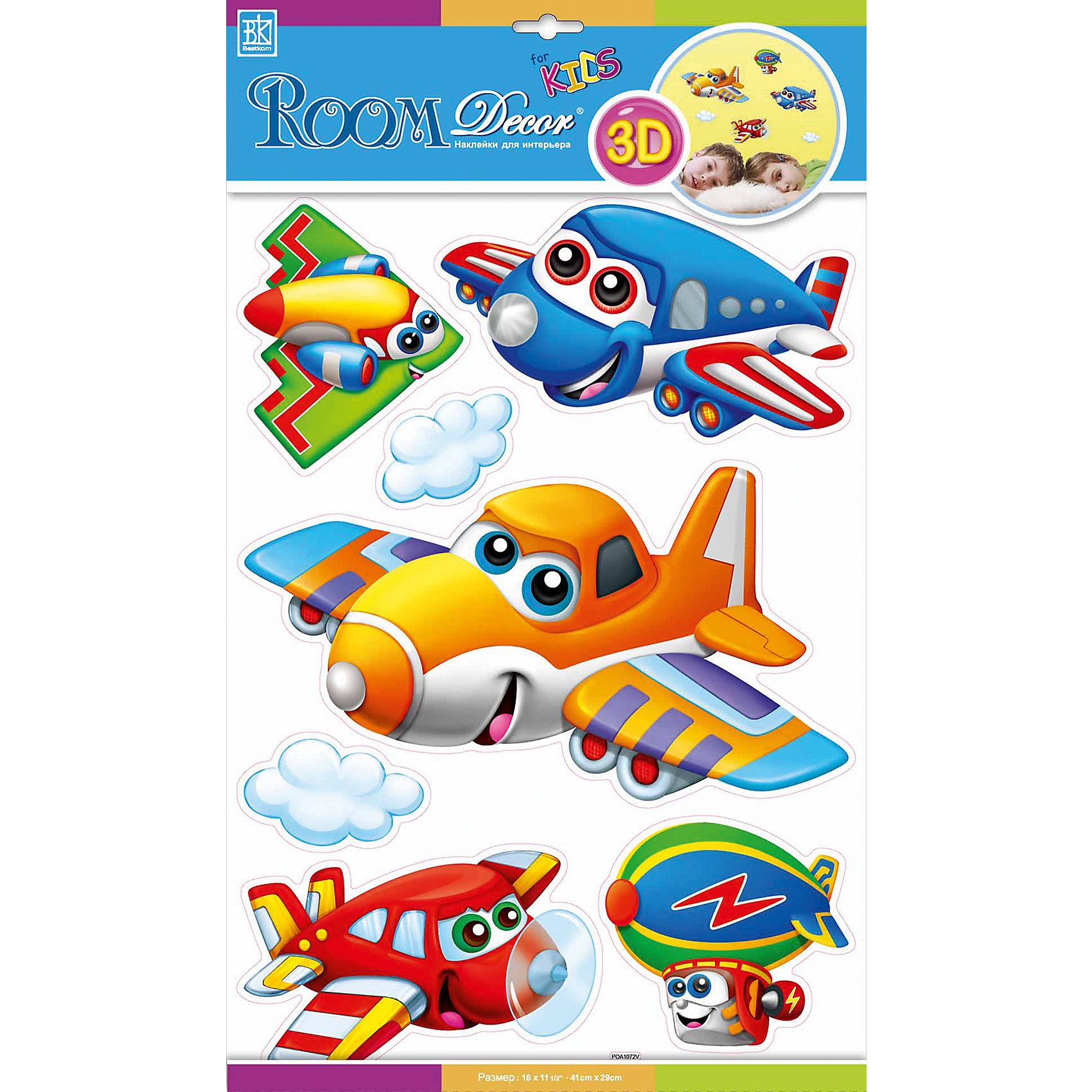 Наклейка Самолетики с глазками №1 POA1072, Room DecorПредметы интерьера<br>Характеристики:<br><br>• Предназначение: декор комнаты, создание творческой зоны в детской комнате<br>• Серия: Детские<br>• Тематика наклеек: самолеты<br>• Материал: картон, ПВХ<br>• Комплектация: 7 элементов<br>• Форма: 3d<br>• Объемные<br>• Клейкая поверхность крепится на окрашенные стены, обои, двери, деревянные панели, стекло<br>• Не повреждают поверхность<br>• Устойчивы к выцветанию и истиранию<br>• Повышенные влагостойкие свойства<br>• Размеры (Д*Ш*В): 30*7*42 см<br>• Вес: 50 г<br>• Упаковка: блистер<br><br>Все наклейки выполнены из безопасного и нетоксичного материала – ПВХ. Прочная клеевая основа обеспечивает надежное прикрепление практически к любому виду горизонтальной или вертикальной поверхности, при этом не деформируя и не повреждая ее. Наклейки обладают влагоустойчивыми свойствами, поэтому они хорошо переносят влажную уборку. <br><br>Наклейка Самолетики с глазками №1 POA1072, Room Decor состоит из набора, в который входят 7 элементов с изображением веселых и ярких самолетиков. Набор выполнен в объемном формате, что придает всей композиции 3d эффект. <br><br>Наклейку Самолетики с глазками №1 POA1072, Room Decor можно купить в нашем интернет-магазине.<br><br>Ширина мм: 300<br>Глубина мм: 70<br>Высота мм: 420<br>Вес г: 50<br>Возраст от месяцев: 36<br>Возраст до месяцев: 168<br>Пол: Мужской<br>Возраст: Детский<br>SKU: 5513005