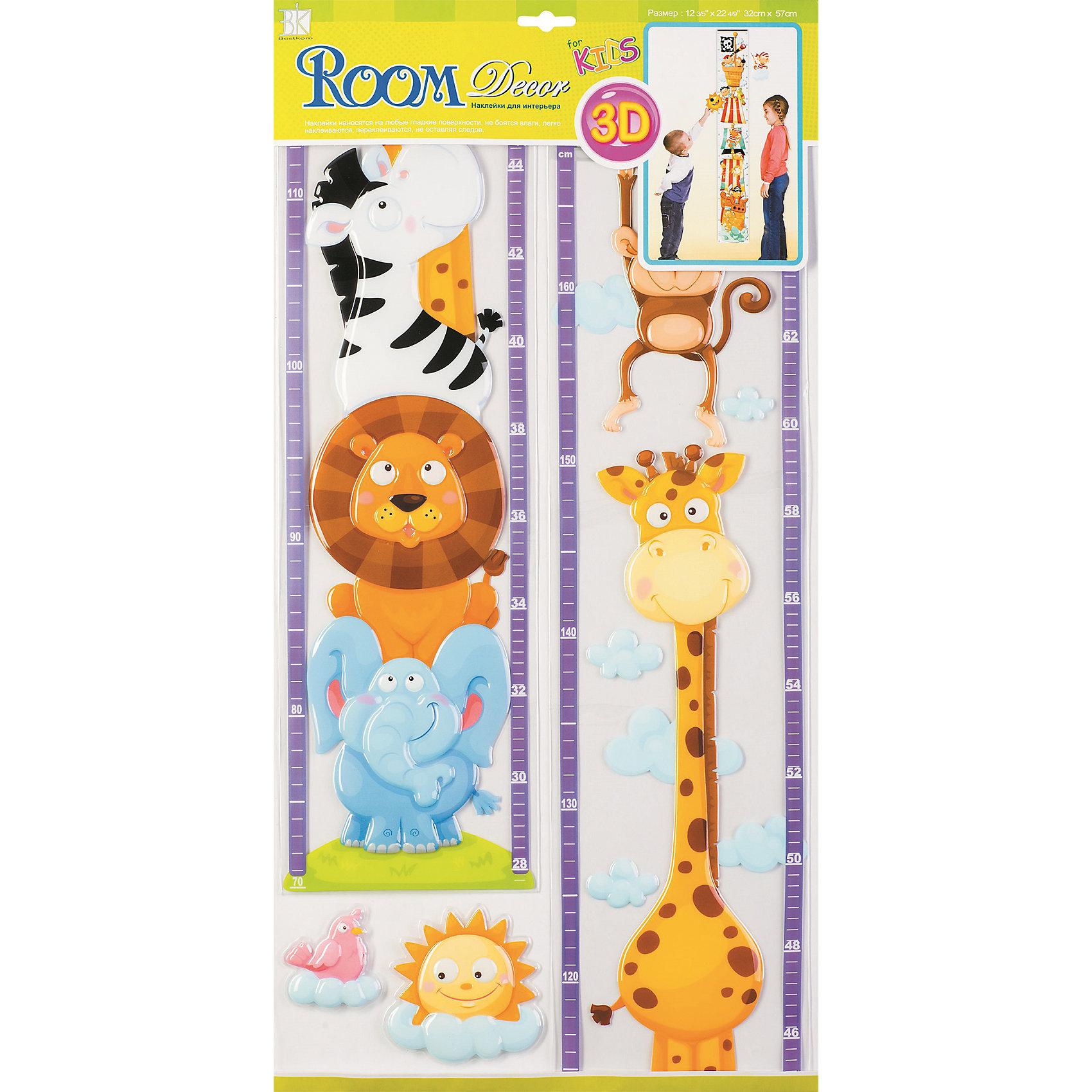 Ростомер Африка POA3205, Room DecorДетские предметы интерьера<br>Характеристики:<br><br>• Предназначение: для измерения роста, декор комнаты<br>• Серия: Детские<br>• Тематика наклеек: животные<br>• Материал: картон, ПВХ<br>• Комплектация: 4 элемента<br>• Шкала: 167 см<br>• Форма: 3d<br>• Объемные<br>• Клейкая поверхность крепится на окрашенные стены, обои, двери, деревянные панели, стекло<br>• Не повреждают поверхность<br>• Устойчивы к выцветанию и истиранию<br>• Повышенные влагостойкие свойства<br>• Размеры (Д*Ш*В): 32*7*57 см<br>• Вес: 60 г<br>• Упаковка: блистер<br><br>Все наклейки выполнены из безопасного и нетоксичного материала – ПВХ. Прочная клеевая основа обеспечивает надежное прикрепление практически к любому виду горизонтальной или вертикальной поверхности, при этом не деформируя и не повреждая ее. Наклейки обладают влагоустойчивыми свойствами, поэтому они хорошо переносят влажную уборку.<br> <br>Ростомер Африка POA3205, Room Decor состоит из набора, в который входят 4 элемента с изображением животных Африки: льва, жирафа, зебры, обезьяны и слона. Набор выполнен в объемном формате, что придает всей композиции 3d эффект. <br><br>Ростомер Африка POA3205, Room Decor можно купить в нашем интернет-магазине.<br><br>Ширина мм: 320<br>Глубина мм: 70<br>Высота мм: 570<br>Вес г: 60<br>Возраст от месяцев: 36<br>Возраст до месяцев: 168<br>Пол: Унисекс<br>Возраст: Детский<br>SKU: 5513008