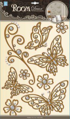 Ќаклейка Ѕабочки (металик) POA5801, Room Decor, коричневый