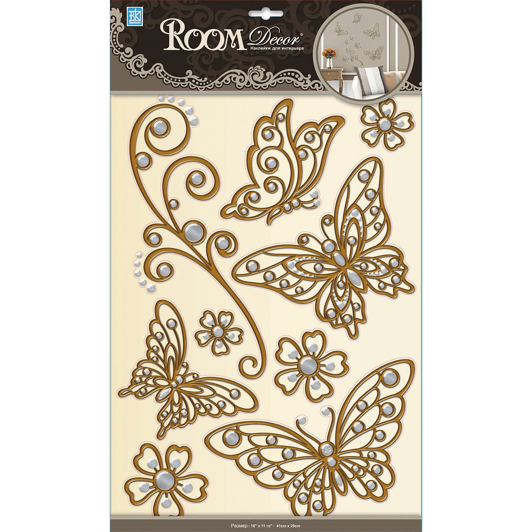 Наклейка Бабочки (металик) POA5801, Room Decor, коричневый от myToys