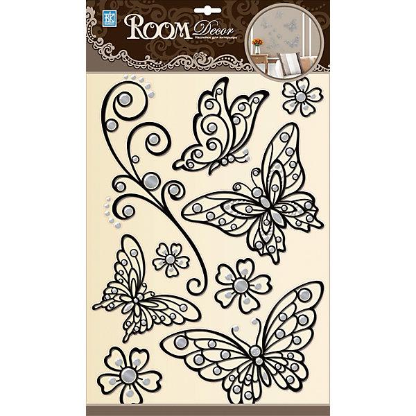 Наклейка Бабочки (металик) POA5803, Room Decor, черныйДетские предметы интерьера<br>Характеристики:<br><br>• Предназначение: декор комнаты<br>• Тематика наклеек: бабочки, растительный ажур и цветы<br>• Материал: картон, ПВХ<br>• Комплектация: 9 элементов<br>• Декоративные элементы: имитация страз<br>• Форма: 3d<br>• Объемные<br>• Клейкая поверхность крепится на окрашенные стены, обои, двери, деревянные панели, стекло<br>• Не повреждают поверхность<br>• Устойчивы к выцветанию и истиранию<br>• Повышенные влагостойкие свойства<br>• Размеры (Д*Ш*В): 30*7*42 см<br>• Вес: 60 г<br>• Упаковка: блистер<br><br>Все наклейки выполнены из безопасного и нетоксичного материала – ПВХ. Прочная клеевая основа обеспечивает надежное прикрепление практически к любому виду горизонтальной или вертикальной поверхности, при этом не деформируя и не повреждая ее. Наклейки обладают влагоустойчивыми свойствами, поэтому они хорошо переносят влажную уборку. <br><br>Наклейка Бабочки (металлик) POA5803, Room Decor, черный состоит из набора, в который входят 9 элементов с изображением бабочек, цветов и веток, оформленных в ажурной технике. Набор выполнен в объемном формате, что придает всей композиции 3d эффект.<br><br>Наклейку Бабочки (металлик) POA5803, Room Decor, черный можно купить в нашем интернет-магазине.<br><br>Ширина мм: 300<br>Глубина мм: 70<br>Высота мм: 420<br>Вес г: 50<br>Возраст от месяцев: 36<br>Возраст до месяцев: 168<br>Пол: Женский<br>Возраст: Детский<br>SKU: 5513011