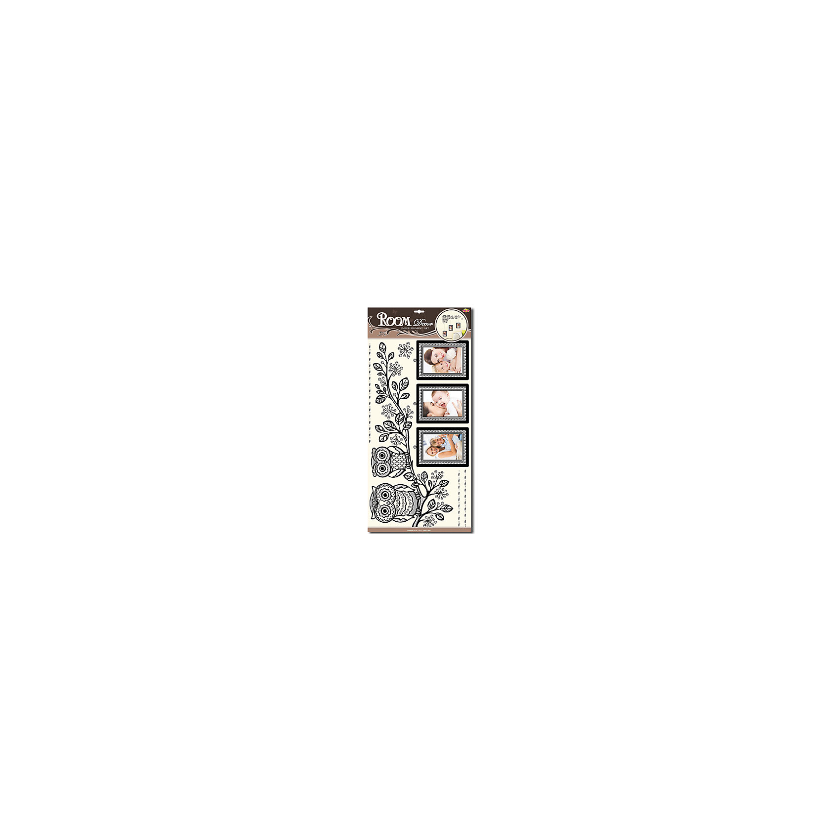 Наклейка Совы с фото POA5936, Room DecorПредметы интерьера<br>Характеристики:<br><br>• Предназначение: декор комнаты<br>• Тематика наклеек: совы<br>• Материал: картон, ПВХ<br>• Комплектация: 7 элементов<br>• Декоративные элементы: 3 рамки для фото<br>• Форма: 3d<br>• Объемные<br>• Клейкая поверхность крепится на окрашенные стены, обои, двери, деревянные панели, стекло<br>• Не повреждают поверхность<br>• Устойчивы к выцветанию и истиранию<br>• Повышенные влагостойкие свойства<br>• Размеры (Д*Ш*В): 32*7*60 см<br>• Вес: 50 г<br>• Упаковка: блистер<br><br>Все наклейки выполнены из безопасного и нетоксичного материала – ПВХ. Прочная клеевая основа обеспечивает надежное прикрепление практически к любому виду горизонтальной или вертикальной поверхности, при этом не деформируя и не повреждая ее. Наклейки обладают влагоустойчивыми свойствами, поэтому они хорошо переносят влажную уборку. <br><br>Наклейка Совы с фото POA5936, Room Decor состоит из набора, в который входят 7 элементов, изображающих сидящих на ветке сов. Наклейки декорированы имитацией трех фото-рамок, в которые можно вклеить любимые фотографии. Набор выполнен в объемном формате, что придает всей композиции 3d эффект. <br><br>Наклейку Совы с фото POA5936, Room Decor можно купить в нашем интернет-магазине.<br><br>Ширина мм: 320<br>Глубина мм: 70<br>Высота мм: 600<br>Вес г: 50<br>Возраст от месяцев: 36<br>Возраст до месяцев: 168<br>Пол: Унисекс<br>Возраст: Детский<br>SKU: 5513015
