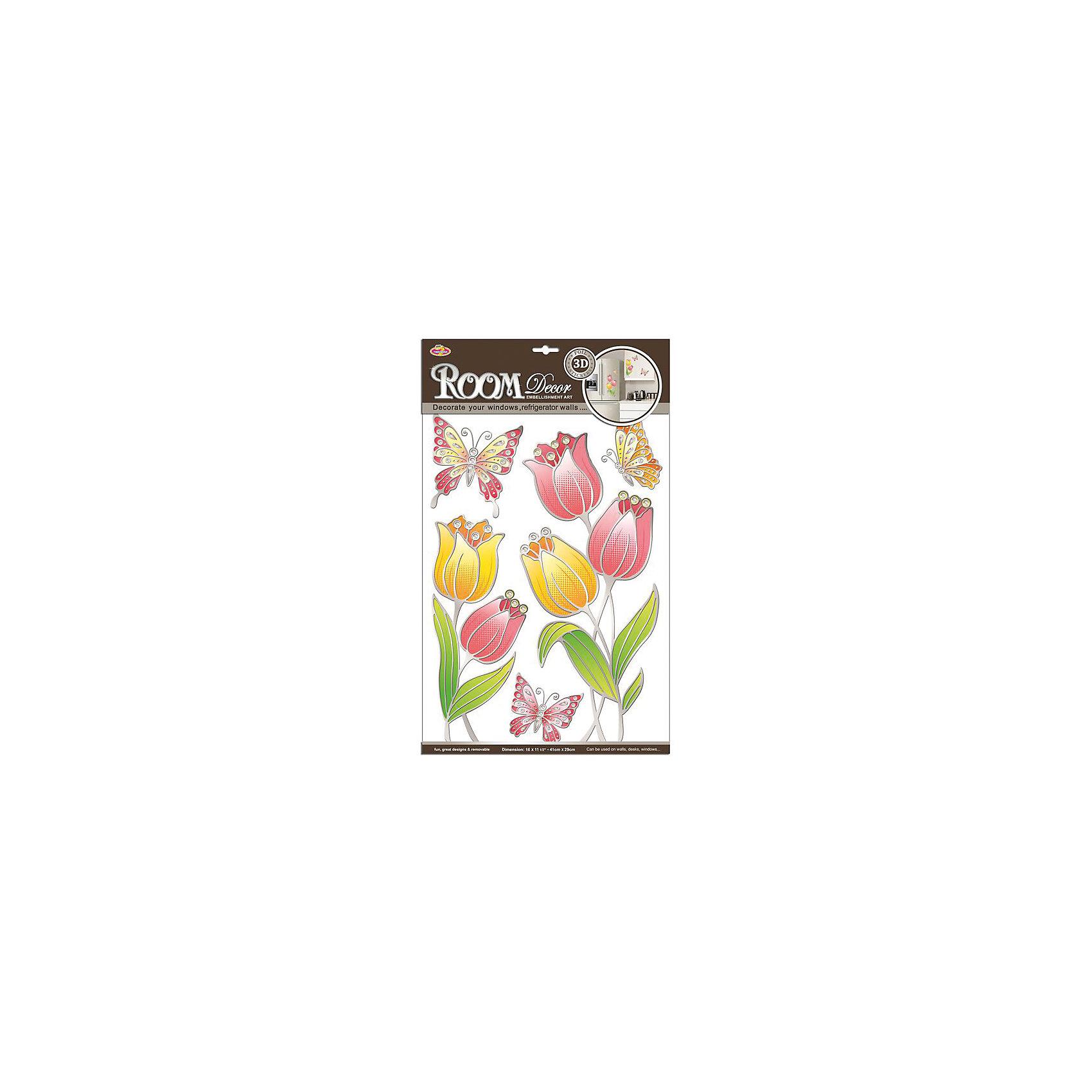 Наклейка Тюльпаны витраж POA8811, Room DecorПредметы интерьера<br>Характеристики:<br><br>• Предназначение: декор комнаты<br>• Тематика наклеек: цветы, бабочки<br>• Материал: картон, ПВХ<br>• Комплектация: 9 элементов<br>• Декоративные элементы: металлизированная отделка<br>• Объемные<br>• Клейкая поверхность крепится на окрашенные стены, обои, двери, деревянные панели, стекло<br>• Не повреждают поверхность<br>• Устойчивы к выцветанию и истиранию<br>• Повышенные влагостойкие свойства<br>• Размеры (Д*Ш*В): 30*7*50 см<br>• Вес: 50 г<br>• Упаковка: блистер<br><br>Все наклейки выполнены из безопасного и нетоксичного материала – ПВХ. Прочная клеевая основа обеспечивает надежное прикрепление практически к любому виду горизонтальной или вертикальной поверхности, при этом не деформируя и не повреждая ее. Наклейки обладают влагоустойчивыми свойствами, поэтому они хорошо переносят влажную уборку. <br><br>Наклейка Тюльпаны витраж POA8811, Room Decor состоит из набора, в который входят 9 элементов, изображающих крупные тюльпаны и бабочек. Наклейки декорированы металлизированным контуром, что имитирует технику витража. Набор выполнен в объемном формате. <br><br>Наклейку Тюльпаны витраж POA8811, Room Decor можно купить в нашем интернет-магазине.<br><br>Ширина мм: 9999<br>Глубина мм: 70<br>Высота мм: 9999<br>Вес г: 50<br>Возраст от месяцев: 36<br>Возраст до месяцев: 168<br>Пол: Женский<br>Возраст: Детский<br>SKU: 5513017