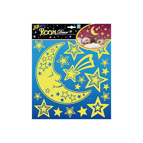 Наклейка Месяц светящийся PSA2702, Room DecorДетские предметы интерьера<br>Характеристики:<br><br>• Предназначение: декор комнаты<br>• Тематика наклеек: месяц, звезды<br>• Материал: картон, ПВХ<br>• Комплектация: 19 элементов<br>• Объемные<br>• Светятся в темноте<br>• Клейкая поверхность крепится на окрашенные стены, обои, двери, деревянные панели, стекло<br>• Не повреждают поверхность<br>• Устойчивы к выцветанию и истиранию<br>• Повышенные влагостойкие свойства<br>• Размеры (Д*Ш*В): 30*7*30 см<br>• Вес: 50 г<br>• Упаковка: блистер<br><br>Все наклейки выполнены из безопасного и нетоксичного материала – ПВХ. Прочная клеевая основа обеспечивает надежное прикрепление практически к любому виду горизонтальной или вертикальной поверхности, при этом не деформируя и не повреждая ее. Наклейки обладают влагоустойчивыми свойствами, поэтому они хорошо переносят влажную уборку. <br><br>Наклейка Месяц светящийся PSA2702, Room Decor состоит из набора, в который входят 19 элементов, изображающих месяц и звездочки. Наклейки хорошо светятся в техноте, благодаря чему их можно использовать для детской комнаты. <br><br>Наклейку Месяц светящийся PSA2702, Room Decor можно купить в нашем интернет-магазине.<br><br>Ширина мм: 300<br>Глубина мм: 70<br>Высота мм: 300<br>Вес г: 50<br>Возраст от месяцев: 36<br>Возраст до месяцев: 168<br>Пол: Унисекс<br>Возраст: Детский<br>SKU: 5513018