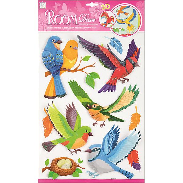 Наклейка Лесные птицы RCA0517, Room DecorДетские предметы интерьера<br>Характеристики:<br><br>• Предназначение: декор комнаты, создание творческой зоны в детской комнате<br>• Тематика наклеек: птицы<br>• Материал: картон, ПВХ<br>• Комплектация: 10 элементов<br>• Декоративные элементы: блестки<br>• Форма: 3d<br>• Крылья птиц сгибаются<br>• Клейкая поверхность крепится на окрашенные стены, обои, двери, деревянные панели, стекло<br>• Не повреждают поверхность<br>• Устойчивы к выцветанию и истиранию<br>• Повышенные влагостойкие свойства<br>• Размеры (Д*Ш*В): 29*7*41 см<br>• Вес: 50 г<br>• Упаковка: блистер<br><br>Все наклейки выполнены из безопасного и нетоксичного материала – ПВХ. Прочная клеевая основа обеспечивает надежное прикрепление практически к любому виду горизонтальной или вертикальной поверхности, при этом не деформируя и не повреждая ее. Наклейки обладают влагоустойчивыми свойствами, поэтому они хорошо переносят влажную уборку.<br> <br>Наклейка Лесные птицы RCA0517, Room Decor состоит из набора, в который входят 10 элементов с изображением ярких экзотических птиц. Набор выполнен в объемном формате, что придает всей композиции 3d эффект. Наклейки декорированы блестками. <br><br>Наклейку Лесные птицы RCA0517, Room Decor можно купить в нашем интернет-магазине.<br>Ширина мм: 290; Глубина мм: 70; Высота мм: 410; Вес г: 50; Возраст от месяцев: 36; Возраст до месяцев: 168; Пол: Унисекс; Возраст: Детский; SKU: 5513019;