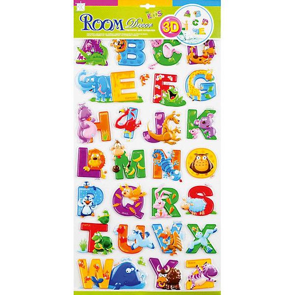 Наклейка Английский алфавит RCA0804, Room DecorДетские предметы интерьера<br>Характеристики:<br><br>• Предназначение: декор комнаты, создание обучающей зоны в детской комнате<br>• Тематика наклеек: английский алфавит<br>• Материал: картон, ПВХ<br>• Комплектация: 28 элементов<br>• Форма: 3d<br>• Клейкая поверхность крепится на окрашенные стены, обои, двери, деревянные панели, стекло<br>• Не повреждают поверхность<br>• Устойчивы к выцветанию и истиранию<br>• Повышенные влагостойкие свойства<br>• Размеры (Д*Ш*В): 29*7*57 см<br>• Вес: 50 г<br>• Упаковка: блистер<br><br>Все наклейки выполнены из безопасного и нетоксичного материала – ПВХ. Прочная клеевая основа обеспечивает надежное прикрепление практически к любому виду горизонтальной или вертикальной поверхности, при этом не деформируя и не повреждая ее. Наклейки обладают влагоустойчивыми свойствами, поэтому они хорошо переносят влажную уборку. <br><br>Наклейка Английский алфавит RCA0804, Room Decor состоит из набора, в который входят 28 элементов с изображением букв английского алфавита. Набор выполнен в объемном формате, что придает всей композиции 3d эффект. На каждой букве имеется изображение предмета или животного, название которого начинается с указанной буквы. <br><br>Наклейку Английский алфавит RCA0804, Room Decor можно купить в нашем интернет-магазине.<br><br>Ширина мм: 320<br>Глубина мм: 70<br>Высота мм: 570<br>Вес г: 50<br>Возраст от месяцев: 36<br>Возраст до месяцев: 168<br>Пол: Унисекс<br>Возраст: Детский<br>SKU: 5513021