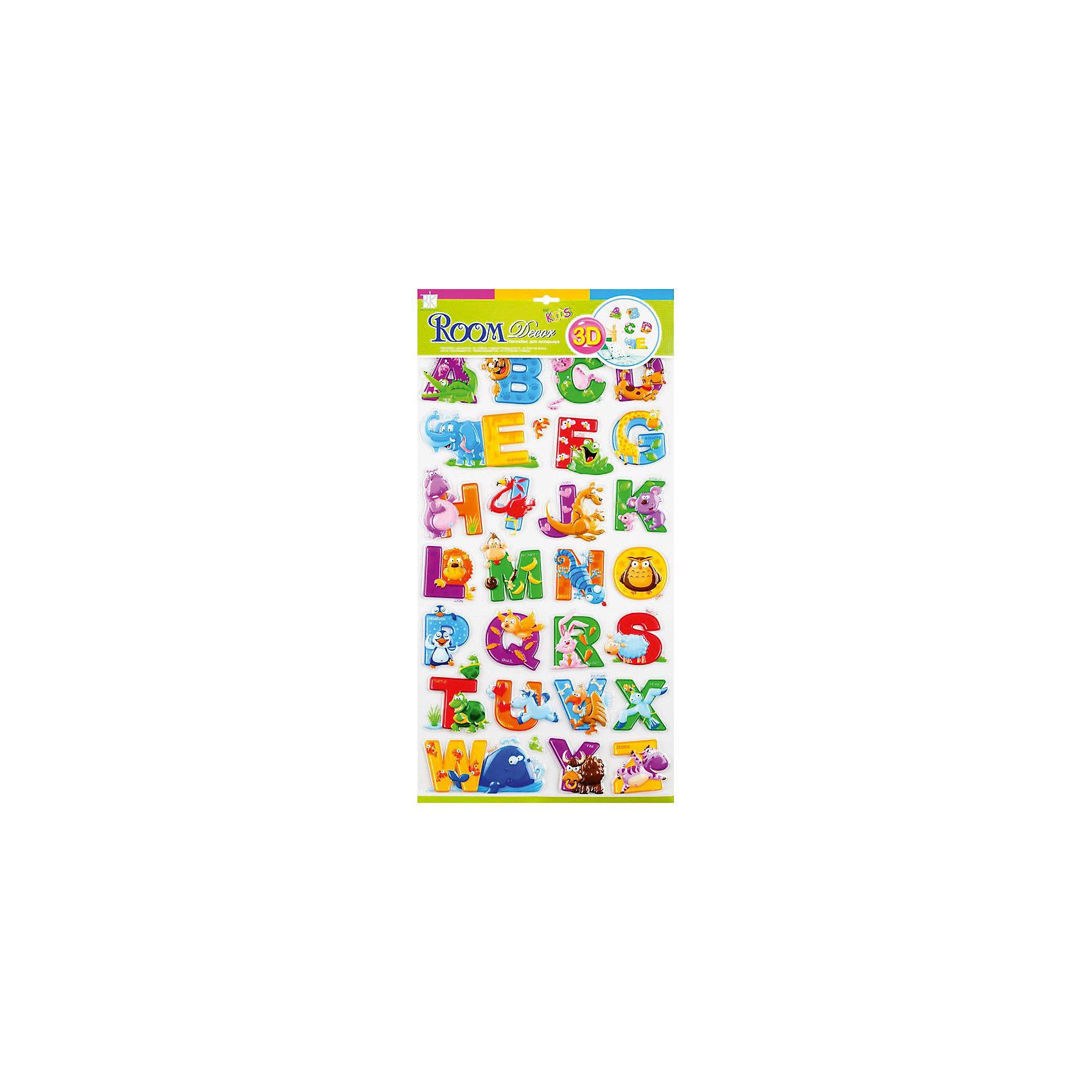 Наклейка Английский алфавит RCA0804, Room DecorПредметы интерьера<br>Характеристики:<br><br>• Предназначение: декор комнаты, создание обучающей зоны в детской комнате<br>• Тематика наклеек: английский алфавит<br>• Материал: картон, ПВХ<br>• Комплектация: 28 элементов<br>• Форма: 3d<br>• Клейкая поверхность крепится на окрашенные стены, обои, двери, деревянные панели, стекло<br>• Не повреждают поверхность<br>• Устойчивы к выцветанию и истиранию<br>• Повышенные влагостойкие свойства<br>• Размеры (Д*Ш*В): 29*7*57 см<br>• Вес: 50 г<br>• Упаковка: блистер<br><br>Все наклейки выполнены из безопасного и нетоксичного материала – ПВХ. Прочная клеевая основа обеспечивает надежное прикрепление практически к любому виду горизонтальной или вертикальной поверхности, при этом не деформируя и не повреждая ее. Наклейки обладают влагоустойчивыми свойствами, поэтому они хорошо переносят влажную уборку. <br><br>Наклейка Английский алфавит RCA0804, Room Decor состоит из набора, в который входят 28 элементов с изображением букв английского алфавита. Набор выполнен в объемном формате, что придает всей композиции 3d эффект. На каждой букве имеется изображение предмета или животного, название которого начинается с указанной буквы. <br><br>Наклейку Английский алфавит RCA0804, Room Decor можно купить в нашем интернет-магазине.<br><br>Ширина мм: 320<br>Глубина мм: 70<br>Высота мм: 570<br>Вес г: 50<br>Возраст от месяцев: 36<br>Возраст до месяцев: 168<br>Пол: Унисекс<br>Возраст: Детский<br>SKU: 5513021