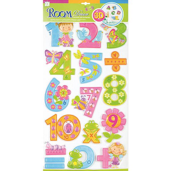 Наклейка Цифры для девочек RCA0805, Room DecorДетские предметы интерьера<br>Характеристики:<br><br>• Предназначение: декор комнаты, создание обучающей зоны в детской комнате<br>• Тематика наклеек: цифры<br>• Материал: картон, ПВХ<br>• Комплектация: 16 элементов<br>• Форма: 3d<br>• Клейкая поверхность крепится на окрашенные стены, обои, двери, деревянные панели, стекло<br>• Не повреждают поверхность<br>• Устойчивы к выцветанию и истиранию<br>• Повышенные влагостойкие свойства<br>• Размеры (Д*Ш*В): 32*7*57 см<br>• Вес: 50 г<br>• Упаковка: блистер<br><br>Все наклейки выполнены из безопасного и нетоксичного материала – ПВХ. Прочная клеевая основа обеспечивает надежное прикрепление практически к любому виду горизонтальной или вертикальной поверхности, при этом не деформируя и не повреждая ее. Наклейки обладают влагоустойчивыми свойствами, поэтому они хорошо переносят влажную уборку. <br><br>Наклейка Цифры для девочек RCA0805, Room Decor состоит из набора, в который входят 16 элементов с изображением цифр и математических знаков. Набор выполнен в объемном формате, что придает всей композиции 3d эффект. Каждая цифра оформлена различными рисунками, соответствующими указанной цифре. <br><br>Наклейку Цифры для девочек RCA0805, Room Decor можно купить в нашем интернет-магазине.<br><br>Ширина мм: 320<br>Глубина мм: 70<br>Высота мм: 570<br>Вес г: 50<br>Возраст от месяцев: 36<br>Возраст до месяцев: 168<br>Пол: Женский<br>Возраст: Детский<br>SKU: 5513022