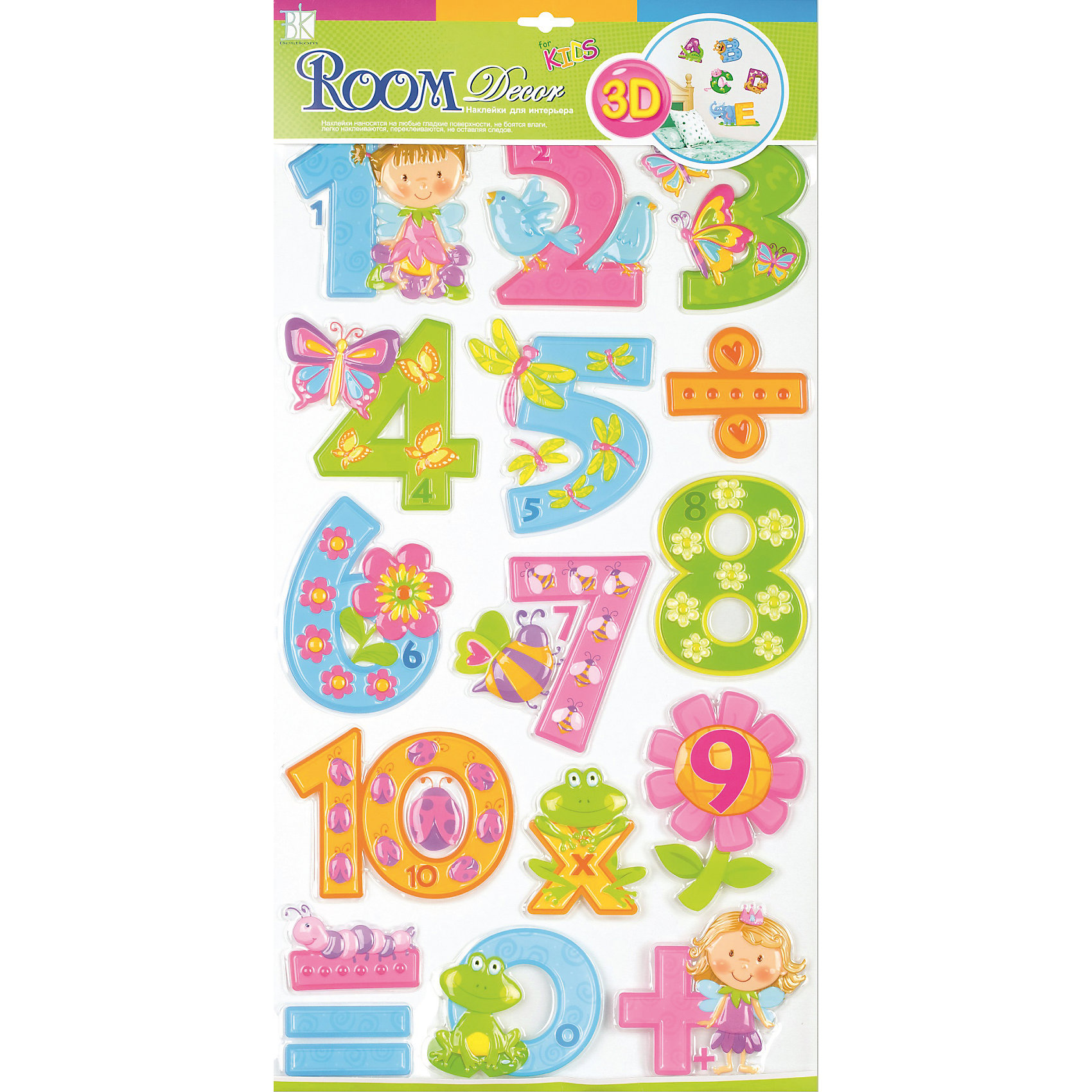 Наклейка Цифры для девочек RCA0805, Room DecorПредметы интерьера<br>Характеристики:<br><br>• Предназначение: декор комнаты, создание обучающей зоны в детской комнате<br>• Тематика наклеек: цифры<br>• Материал: картон, ПВХ<br>• Комплектация: 16 элементов<br>• Форма: 3d<br>• Клейкая поверхность крепится на окрашенные стены, обои, двери, деревянные панели, стекло<br>• Не повреждают поверхность<br>• Устойчивы к выцветанию и истиранию<br>• Повышенные влагостойкие свойства<br>• Размеры (Д*Ш*В): 32*7*57 см<br>• Вес: 50 г<br>• Упаковка: блистер<br><br>Все наклейки выполнены из безопасного и нетоксичного материала – ПВХ. Прочная клеевая основа обеспечивает надежное прикрепление практически к любому виду горизонтальной или вертикальной поверхности, при этом не деформируя и не повреждая ее. Наклейки обладают влагоустойчивыми свойствами, поэтому они хорошо переносят влажную уборку. <br><br>Наклейка Цифры для девочек RCA0805, Room Decor состоит из набора, в который входят 16 элементов с изображением цифр и математических знаков. Набор выполнен в объемном формате, что придает всей композиции 3d эффект. Каждая цифра оформлена различными рисунками, соответствующими указанной цифре. <br><br>Наклейку Цифры для девочек RCA0805, Room Decor можно купить в нашем интернет-магазине.<br><br>Ширина мм: 320<br>Глубина мм: 70<br>Высота мм: 570<br>Вес г: 50<br>Возраст от месяцев: 36<br>Возраст до месяцев: 168<br>Пол: Женский<br>Возраст: Детский<br>SKU: 5513022