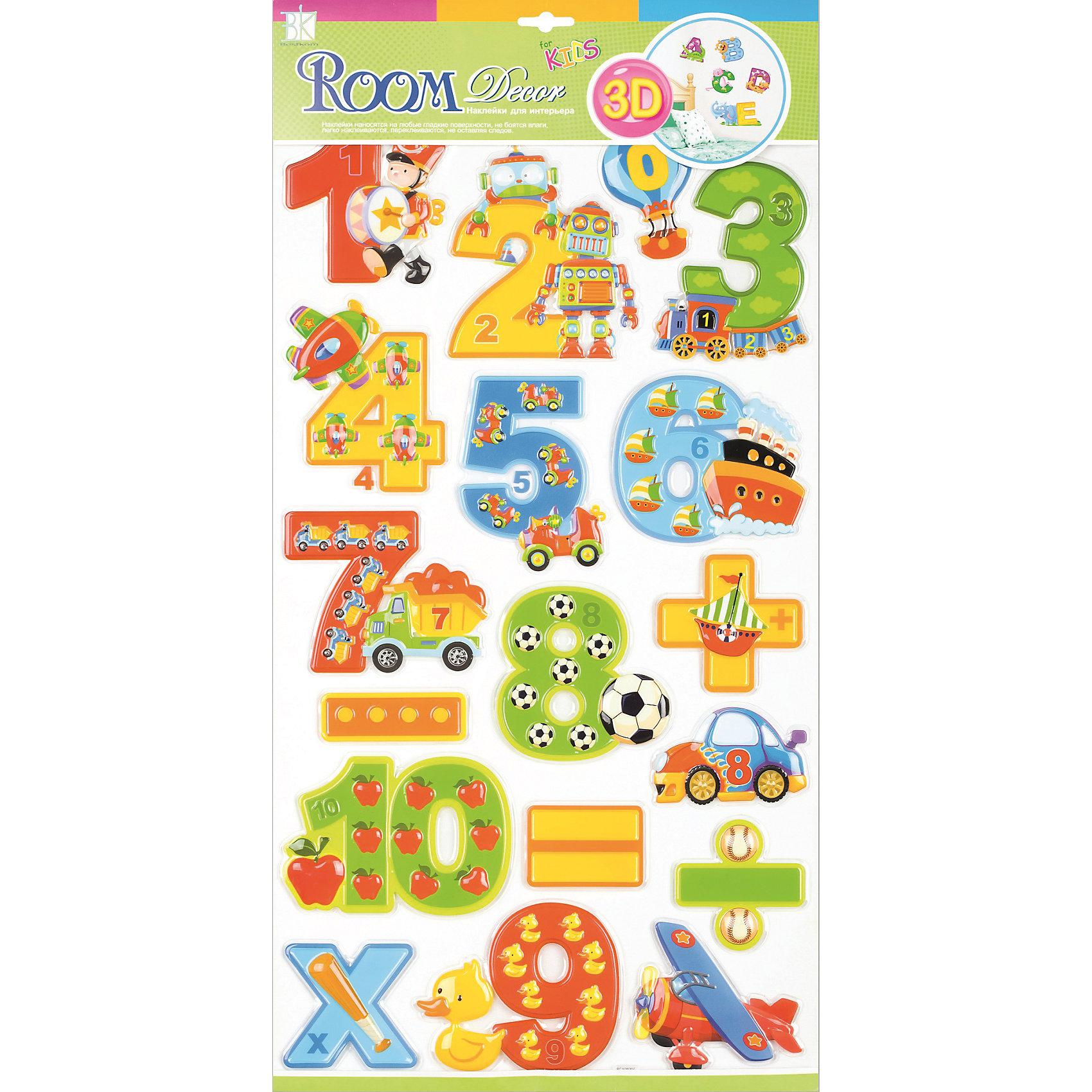 Наклейка Цифры для мальчиков RCA0806, Room DecorПредметы интерьера<br>Характеристики:<br><br>• Предназначение: декор комнаты, создание обучающей зоны в детской комнате<br>• Тематика наклеек: цифры<br>• Материал: картон, ПВХ<br>• Комплектация: 18 элементов<br>• Форма: 3d<br>• Клейкая поверхность крепится на окрашенные стены, обои, двери, деревянные панели, стекло<br>• Не повреждают поверхность<br>• Устойчивы к выцветанию и истиранию<br>• Повышенные влагостойкие свойства<br>• Размеры (Д*Ш*В): 32*7*57 см<br>• Вес: 50 г<br>• Упаковка: блистер<br><br>Все наклейки выполнены из безопасного и нетоксичного материала – ПВХ. Прочная клеевая основа обеспечивает надежное прикрепление практически к любому виду горизонтальной или вертикальной поверхности, при этом не деформируя и не повреждая ее. Наклейки обладают влагоустойчивыми свойствами, поэтому они хорошо переносят влажную уборку. <br><br>Наклейка Цифры для девочек RCA0805, Room Decor состоит из набора, в который входят 18 элементов с изображением цифр и математических знаков. Набор выполнен в объемном формате, что придает всей композиции 3d эффект. Каждая цифра оформлена различными рисунками, соответствующими указанной цифре. <br><br>Наклейку Цифры для девочек RCA0805, Room Decor можно купить в нашем интернет-магазине.<br><br>Ширина мм: 320<br>Глубина мм: 70<br>Высота мм: 570<br>Вес г: 50<br>Возраст от месяцев: 36<br>Возраст до месяцев: 168<br>Пол: Мужской<br>Возраст: Детский<br>SKU: 5513023