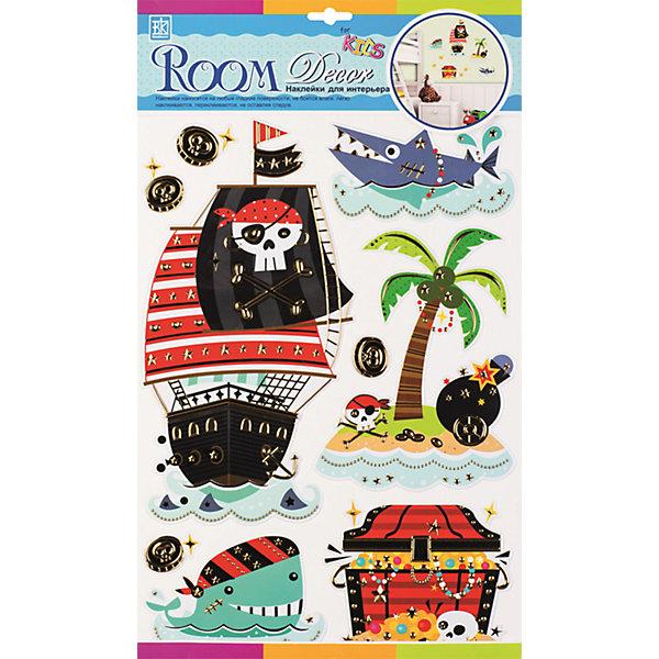 Наклейка Пиратские сокровища RCA3902, Room DecorДетские предметы интерьера<br>Характеристики:<br><br>• Предназначение: декор комнаты<br>• Тематика наклеек: пираты, морская атрибутика<br>• Материал: картон, ПВХ<br>• Комплектация: 9 элементов<br>• Декоративные элементы: металлизированная отделка<br>• Объемные<br>• Клейкая поверхность крепится на окрашенные стены, обои, двери, деревянные панели, стекло<br>• Не повреждают поверхность<br>• Устойчивы к выцветанию и истиранию<br>• Повышенные влагостойкие свойства<br>• Размеры (Д*Ш*В): 30*7*50 см<br>• Вес: 50 г<br>• Упаковка: блистер<br><br>Все наклейки выполнены из безопасного и нетоксичного материала – ПВХ. Прочная клеевая основа обеспечивает надежное прикрепление практически к любому виду горизонтальной или вертикальной поверхности, при этом не деформируя и не повреждая ее. Наклейки обладают влагоустойчивыми свойствами, поэтому они хорошо переносят влажную уборку. <br><br>Наклейка Пиратские сокровища RCA3902, Room Decor состоит из набора, в который входят 9 элементов, изображающих пиратскую тематику: корабль, необитаемый остров, сундук с сокровищами и т.д. Наклейки декорированы металлизированным контуром, что имитирует технику витража. Набор выполнен в объемном формате. <br><br>Наклейку Пиратские сокровища RCA3902, Room Decor можно купить в нашем интернет-магазине.<br><br>Ширина мм: 290<br>Глубина мм: 70<br>Высота мм: 410<br>Вес г: 50<br>Возраст от месяцев: 36<br>Возраст до месяцев: 168<br>Пол: Мужской<br>Возраст: Детский<br>SKU: 5513025