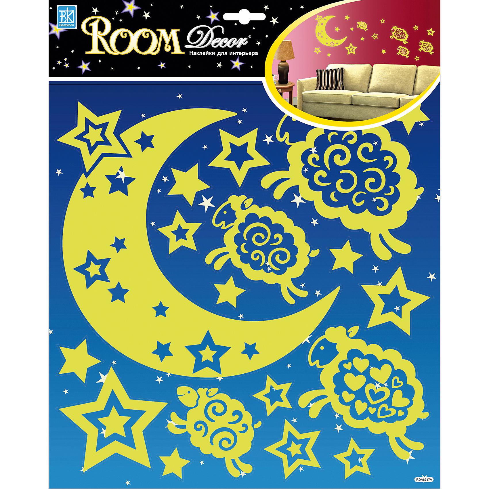 Наклейка Барашки светящиеся RDA8317, Room DecorПредметы интерьера<br>Характеристики:<br><br>• Предназначение: декор комнаты<br>• Тематика наклеек: барашки, звезды, месяц<br>• Материал: картон, ПВХ<br>• Комплектация: 18 элементов<br>• Светятся в темноте<br>• Клейкая поверхность крепится на окрашенные стены, обои, двери, деревянные панели, стекло<br>• Не повреждают поверхность<br>• Устойчивы к выцветанию и истиранию<br>• Повышенные влагостойкие свойства<br>• Размеры (Д*Ш*В): 30,5*7*30,5 см<br>• Вес: 40 г<br>• Упаковка: блистер<br><br>Все наклейки выполнены из безопасного и нетоксичного материала – ПВХ. Прочная клеевая основа обеспечивает надежное прикрепление практически к любому виду горизонтальной или вертикальной поверхности, при этом не деформируя и не повреждая ее. Наклейки обладают влагоустойчивыми свойствами, поэтому они хорошо переносят влажную уборку. <br><br>Наклейка Барашки светящиеся RDA8317, Room Decor состоит из набора, в который входят 18 элементов с изображением милых барашков в окружении россыпи звезд. <br><br>Наклейку Барашки светящиеся RDA8317, Room Decor можно купить в нашем интернет-магазине.<br><br>Ширина мм: 305<br>Глубина мм: 70<br>Высота мм: 305<br>Вес г: 40<br>Возраст от месяцев: 36<br>Возраст до месяцев: 168<br>Пол: Унисекс<br>Возраст: Детский<br>SKU: 5513032