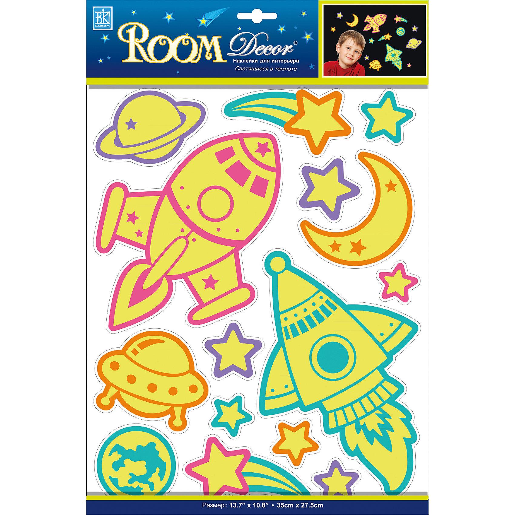 Наклейка Светящиеся ракеты REA 4603, Room DecorПредметы интерьера<br>Характеристики:<br><br>• Предназначение: декор комнаты<br>• Тематика наклеек: космос<br>• Материал: картон, ПВХ<br>• Комплектация: 7 элементов<br>• Декоративные элементы: блестки<br>• Светящиеся в темноте<br>• Форма: многослойные<br>• Клейкая поверхность крепится на окрашенные стены, обои, двери, деревянные панели, стекло<br>• Не повреждают поверхность<br>• Устойчивы к выцветанию и истиранию<br>• Повышенные влагостойкие свойства<br>• Размеры (Д*Ш*В): 30,5*7*31,5 см<br>• Вес: 40 г<br>• Упаковка: блистер<br><br>Все наклейки выполнены из безопасного и нетоксичного материала – ПВХ. Прочная клеевая основа обеспечивает надежное прикрепление практически к любому виду горизонтальной или вертикальной поверхности, при этом не деформируя и не повреждая ее. Наклейки обладают влагоустойчивыми свойствами, поэтому они хорошо переносят влажную уборку. <br><br>Наклейка Светящиеся ракеты REA 4603, Room Decor состоит из набора, в который входят 7 элементов с изображением ракет, звезд и планет. Картинки светятся в темноте.<br><br>Наклейку Светящиеся ракеты REA 4603, Room Decor можно купить в нашем интернет-магазине.<br><br>Ширина мм: 305<br>Глубина мм: 70<br>Высота мм: 315<br>Вес г: 40<br>Возраст от месяцев: 36<br>Возраст до месяцев: 168<br>Пол: Унисекс<br>Возраст: Детский<br>SKU: 5513055