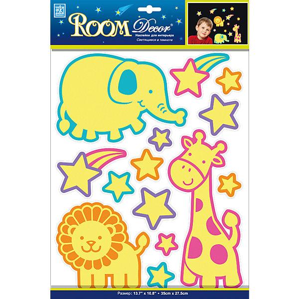Наклейка Светящийся зоопарк REA 4605, Room DecorДетские предметы интерьера<br>Характеристики:<br><br>• Предназначение: декор комнаты<br>• Тематика наклеек: зоопарк<br>• Материал: картон, ПВХ<br>• Декоративные элементы: блестки<br>• Светящиеся в темноте<br>• Форма: многослойные<br>• Клейкая поверхность крепится на окрашенные стены, обои, двери, деревянные панели, стекло<br>• Не повреждают поверхность<br>• Устойчивы к выцветанию и истиранию<br>• Повышенные влагостойкие свойства<br>• Размеры (Д*Ш*В): 15*9,5*130 см<br>• Вес: 40 г<br>• Упаковка: блистер<br><br>Все наклейки выполнены из безопасного и нетоксичного материала – ПВХ. Прочная клеевая основа обеспечивает надежное прикрепление практически к любому виду горизонтальной или вертикальной поверхности, при этом не деформируя и не повреждая ее. Наклейки обладают влагоустойчивыми свойствами, поэтому они хорошо переносят влажную уборку. <br><br>Наклейка Светящийся зоопарк REA 4605, Room Decor состоит из элементов с изображением жирафа, слона, льва и звезд. Картинки светятся в темноте. <br><br>Наклейку Светящийся зоопарк REA 4605, Room Decor можно купить в нашем интернет-магазине.<br>Ширина мм: 150; Глубина мм: 95; Высота мм: 1300; Вес г: 40; Возраст от месяцев: 36; Возраст до месяцев: 168; Пол: Унисекс; Возраст: Детский; SKU: 5513056;
