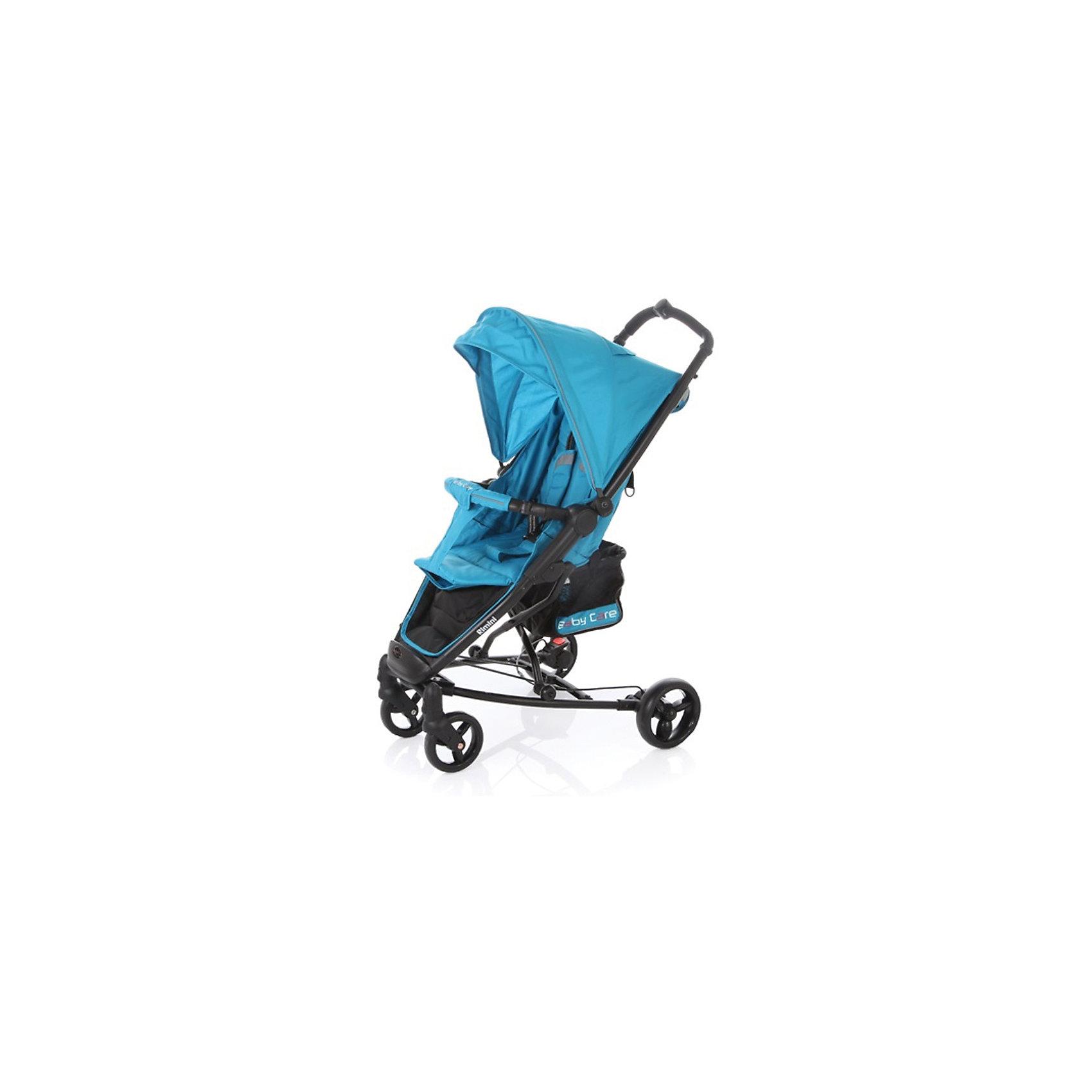 Прогулочная коляска Baby Care Rimini, голубойПрогулочные коляски<br>Характеристики коляски:<br><br>• регулируется наклон спинки почти до горизонтального положения;<br>• регулируется подножка;<br>• 5-ти точечные ремни безопасности удерживают ребенка;<br>• имеется бампер с мягкой обивкой;<br>• капюшон оснащен смотровым окошком, имеется солнцезащитный козырек;<br>• чехол на ножки защищает от ветра и непогоды;<br>• передние плавающие колеса с фиксацией;<br>• ножной барабанный тормоз на тросике;<br>• тип складывания: книжка;<br>• предусмотрена защита от случайного раскладывания;<br>• материал рамы: алюминий.<br><br>Размер коляски: 51х82х102 см<br>Размер в сложенном виде: 32х75х44 см<br>Длина спального места: 73 см<br>Ширина сиденья: 30 см<br>Диаметр колес: 15 см, 17 см<br>Ширина колесной базы: 59 см<br>Размер корзины: 20х20х25 см<br>Вес коляски: 8,4 кг<br>Размер упаковки: 76х35х23 см<br>Вес в упаковке: 9,4 кг<br><br>Прогулочную коляску Rimini, Baby Care, цвет голубой можно купить в нашем интернет-магазине.<br><br>Ширина мм: 760<br>Глубина мм: 230<br>Высота мм: 350<br>Вес г: 9400<br>Возраст от месяцев: 6<br>Возраст до месяцев: 48<br>Пол: Унисекс<br>Возраст: Детский<br>SKU: 5513639