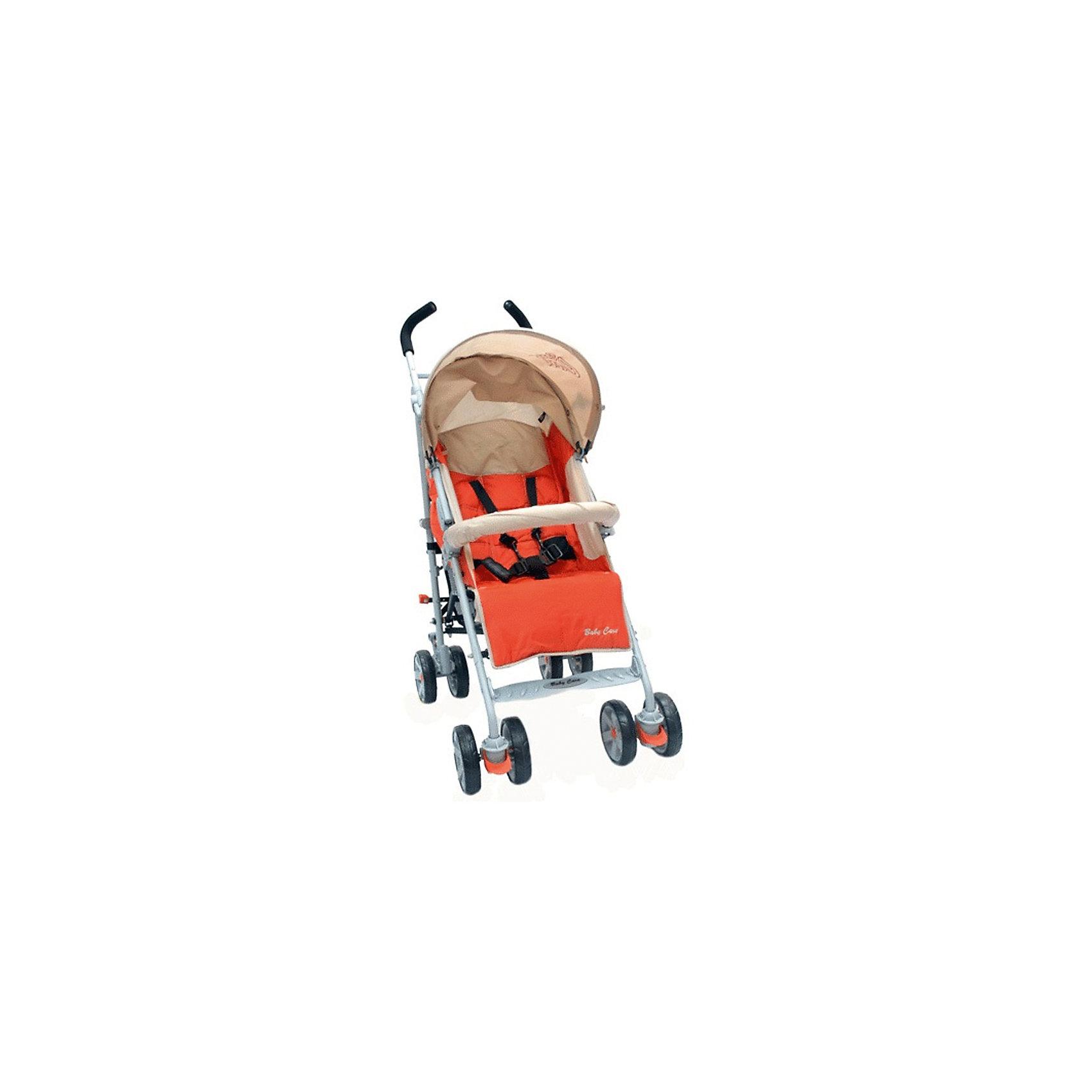 Коляска-трость Baby Care Polo 107, терракотовыйПрогулочные коляски<br>Характеристики коляски-трости:<br><br>• спинка раскладывается почти до горизонтального положения, угол наклона 170 градусов;<br>• регулируемая подножка;<br>• 5-ти точечные ремни безопасности;<br>• съемный бампер с мягкой накладкой;<br>• капюшон опускается до бампера;<br>• чехол на ножки защищает ребенка в холодное время года;<br>• дождевик защищает от осадков;<br>• сдвоенные колеса из плотной резины;<br>• передние плавающие колеса с возможностью фиксации;<br>• стояночный тормоз на задней оси;<br>• механизм складывания: трость;<br>• материал рамы: алюминий. <br><br>Размер коляски: 51х80х107 см<br>Диаметр колес:15 см<br>Ширина колесной базы:51 см <br>Вес коляски: 8,5 кг <br>Длина спального места: 80 см<br>Ширина сиденья: 33 см<br>Высота спинки: 52 см <br>Высота до ручки: 107 см<br>Размер упаковки: 108х30х20 см<br>Вес в упаковке: 9,8 кг<br><br>Коляска Baby Care Polo подходит для городских прогулок и для выездов на природу. Хороший вариант «походной» коляски. В сложенном виде не занимает много места в транспорте. Коляска достаточно проходима, чтобы ездить и по асфальту, и по траве. Кроме этого, весь прочий функционал тростей доступен и в этой модели. Спинка раскладывается до лежачего положения, подножка регулируется по высоте, а капюшон может опускаться до бампера.<br><br>Коляску-трость Polo 107, Baby Care, цвет терракотовый можно купить в нашем интернет-магазине.<br><br>Ширина мм: 1080<br>Глубина мм: 300<br>Высота мм: 200<br>Вес г: 9800<br>Возраст от месяцев: 6<br>Возраст до месяцев: 48<br>Пол: Унисекс<br>Возраст: Детский<br>SKU: 5513644