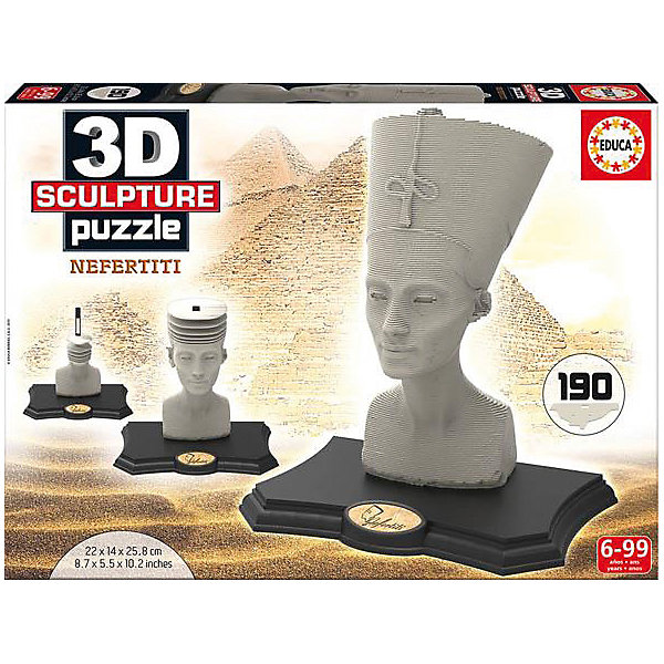 Скульптурный пазл Нефертити 3D, 190 деталей, Educa3D пазлы<br>Характеристики товара:<br><br>• возраст: от 7 лет;<br>• количество деталей: 160;<br>• размер собранной картины: 22х14х21 см.;<br>• наличие клея: нет в комплекте;<br>• материал: картон;<br>• упаковка: картонная каробка;<br>• вес: 1,5 кг.;<br>• бренд, страна бренда: Educa (Эдука), Испания;<br>• страна-производитель: Испания.<br>                                                                                                                                                                                                                                                                                                                       <br>Скульптурный 3D-пазл «Неффертити», состоящий из 160 элементов, придется по душе всей вашей семье, ведь собрав этот пазл, вы получите трехмерную модель знаменитой египитской скульптуры! Пазл выполнен из высококачественных материалов, что обеспечивает идеальное прилегание элементов друг к другу.<br><br>Собирание пазлов это не только интересно, но и полезно: ведь в процессе создания картинки развивается мелкая моторика, тренируются наблюдательность и логическое мышление. <br><br>Испанская компания Educa Borras, SA выпускает пазлы различной сложности и имеет уникальный сервис: бесплатную доставку в любую точку мира потерянной детали.<br><br>Скульптурный 3D-пазл «Нефертити», 160 деталей,  Educa (Эдука) можно купить в нашем интернет-магазине.<br>Ширина мм: 270; Глубина мм: 370; Высота мм: 55; Вес г: 1528; Возраст от месяцев: 60; Возраст до месяцев: 2147483647; Пол: Унисекс; Возраст: Детский; SKU: 5514265;