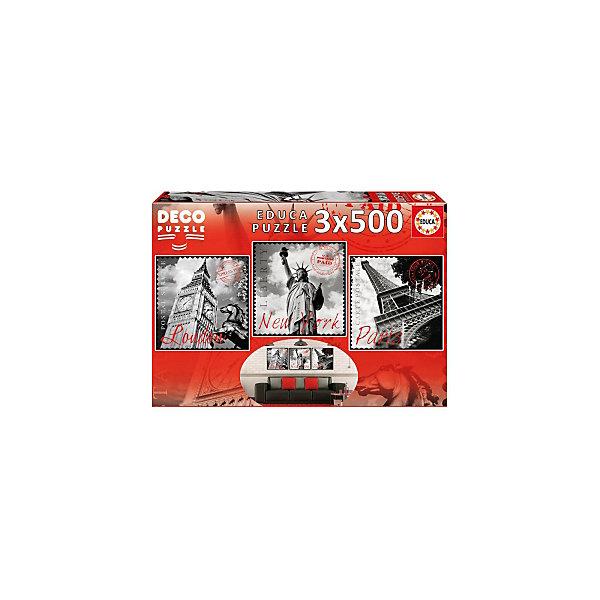 Пазлы Большие города, 500 деталей, EducaПазлы классические<br>Характеристики товара:<br><br>• возраст: от 6 лет;<br>• количество пазлов и деталей: 3х500;<br>• размер 1 собранной картины: 40,5х40 см.;<br>• наличие клея: в комплекте;<br>• материал: картон;<br>• упаковка: картонная каробка;<br>• вес: 1,1 кг.;<br>• бренд, страна бренда: Educa (Эдука), Испания;<br>• страна-производитель: Испания.<br>                                                                                                                                                                                                                                                                                                                       <br>Набор пазлов «Большие города» непременно придутся по душе вам и вашему ребенку. Набор  включает в себя 3 пазла по 500 элементов. Собрав эти пазлы, вы получите картинки с изображениями достопримечательностей Лондона, Нью-Йорка и Парижа. <br><br>Все картинки выполнены в серо-белом цвете.Пазл выполнен из высококачественных материалов, что обеспечивает идеальное прилегание деталей. Кроме того, после сборки вы сможете склеить части мозаики. Специальный клей входит в комплект.<br><br>Пазл - великолепная игра для семейного досуга. Сегодня собирание пазлов стало особенно популярным, главным образом, благодаря своей многообразной тематике, способной удовлетворить самый взыскательный вкус. А для детей это не только интересно, но и полезно. Собирание пазла развивает мелкую моторику у ребенка, тренирует наблюдательность, логическое мышление, знакомит с окружающим миром, с цветом и разнообразными формами.<br><br>Испанская компания Educa Borras, SA выпускает пазлы различной сложности и имеет уникальный сервис: бесплатную доставку в любую точку мира потерянной детали.<br><br>Набор пазлов «Большие города», 3х500 деталей,  Educa (Эдука) можно купить в нашем интернет-магазине.<br><br>Ширина мм: 300<br>Глубина мм: 430<br>Высота мм: 55<br>Вес г: 1136<br>Возраст от месяцев: 60<br>Возраст