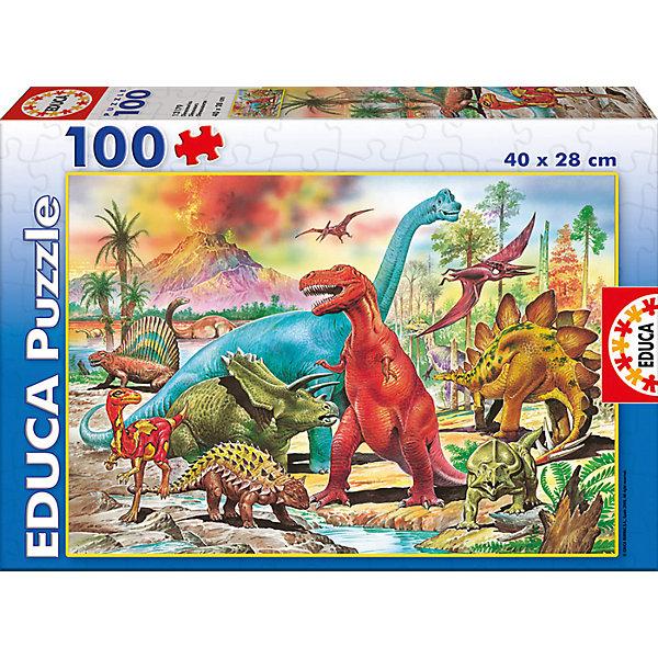 Пазл Динозавры, 100 деталей, EducaПазлы для малышей<br>Характеристики товара:<br><br>• возраст: от 6 лет;<br>• количество деталей: 100;<br>• размер собранной картины: 40х28 см.;<br>• наличие клея: нет в комплекте;<br>• материал: картон;<br>• упаковка: картонная каробка;<br>• вес: 365 гр.;<br>• бренд, страна бренда: Educa (Эдука), Испания;<br>• страна-производитель: Испания.<br>                                                                                                                                                                                                                                                                                                                       <br>Пазл «Динозавтры», состоящий из 100 элементов, придется по душе всей вашей семье. Собрав этот пазл, вы получите оригинальный постер с красочным изображением древнего мира и динозавров. <br><br>Пазл выполнен из высококачественных материалов, что обеспечивает идеальное прилегание элементов друг к другу. <br><br>Собирание пазлов это не только интересно, но и полезно: ведь в процессе создания картинки развивается мелкая моторика, тренируются наблюдательность и логическое мышление.<br><br>Испанская компания Educa Borras, SA выпускает пазлы различной сложности и имеет уникальный сервис: бесплатную доставку в любую точку мира потерянной детали.<br><br>Пазл «Динозавры», 100 деталей,  Educa (Эдука) можно купить в нашем интернет-магазине.<br>Ширина мм: 218; Глубина мм: 316; Высота мм: 45; Вес г: 356; Возраст от месяцев: 36; Возраст до месяцев: 2147483647; Пол: Унисекс; Возраст: Детский; SKU: 5514303;