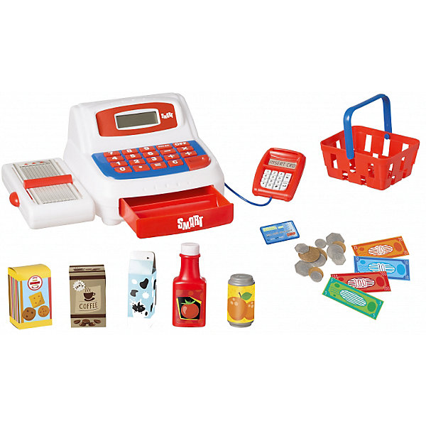 Кассовый аппарат HTI Smart (звук)Детский супермаркет<br>Характеристики товара:<br><br>• Материал: пластик<br>• Для работы нажуны 2 батарейки АА (в комплект не входят)<br>• Размер упаковки 14х28х19,5 см<br>• Вес упаковки 0,8 кг<br>• Страна производитель: Китай<br><br>Кассовый аппарат HTI познакомит ребенка с устройством кассы в магазине. Игрушка выполнена в виде кассового аппарата с лентой для продуктов, отсеком для монет, калькулятором и терминалом для оплаты. Ребенок сможет придумать разнообразные игры, представив себя в роли покупателя продуктов питания.<br><br>Игрушка оснащена звуковыми эффектами, которые работают от 2 батареек АА (в комплект не входят). В наборе: аппарат, продукты питания, корзина для покупок, терминал для оплаты, банковская карта, монеты и деньги.<br><br>Кассовый аппарат HTI можно приобрести в нашем интернет-магазине.<br>Ширина мм: 140; Глубина мм: 280; Высота мм: 195; Вес г: 800; Возраст от месяцев: 36; Возраст до месяцев: 2147483647; Пол: Унисекс; Возраст: Детский; SKU: 5514324;
