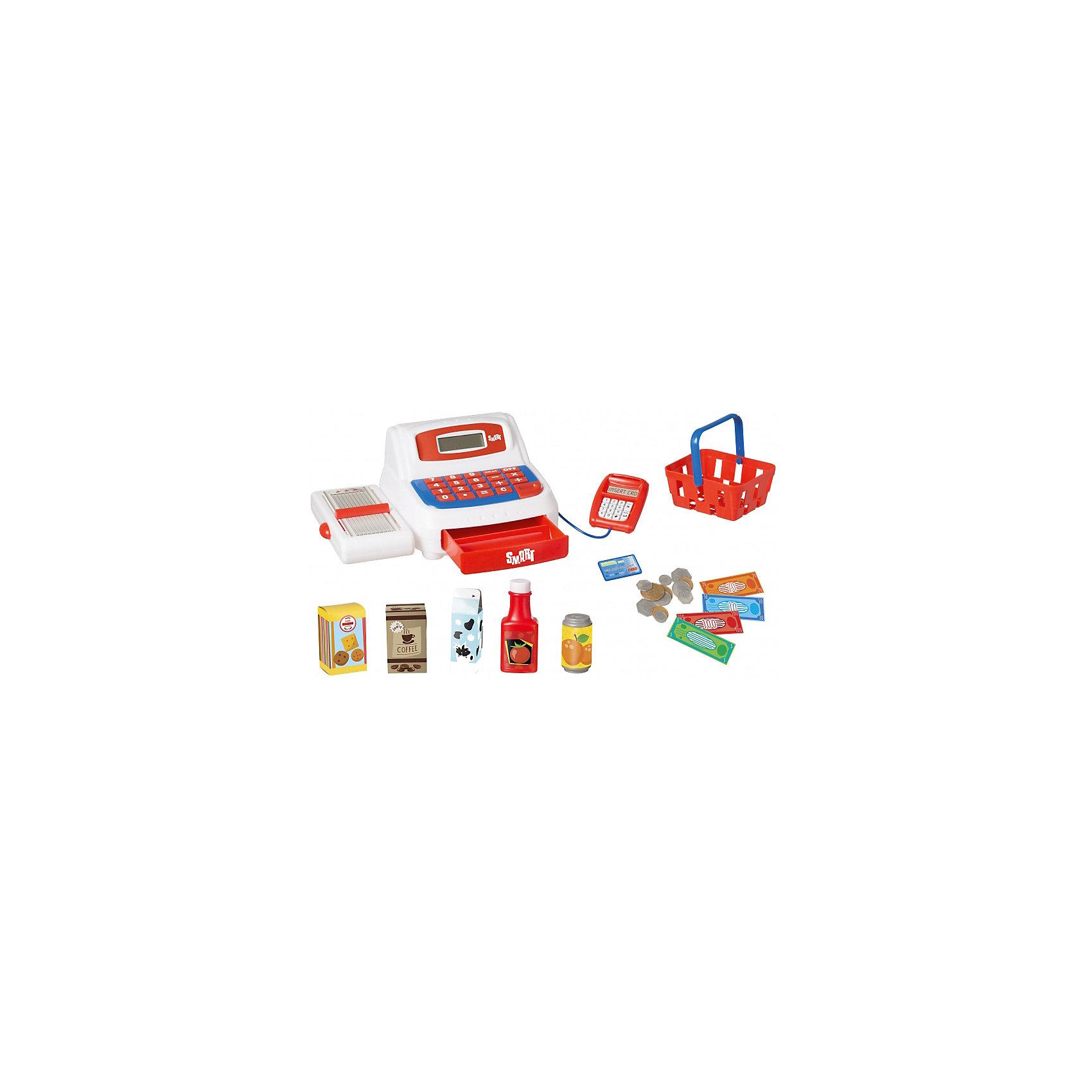 Кассовый аппарат, HTIДетские магазины и аксесссуары<br>Характеристики товара:<br><br>• Материал: пластик<br>• Для работы нажуны 2 батарейки АА (в комплект не входят)<br>• Размер упаковки 14х28х19,5 см<br>• Вес упаковки 0,8 кг<br>• Страна производитель: Китай<br><br>Кассовый аппарат HTI познакомит ребенка с устройством кассы в магазине. Игрушка выполнена в виде кассового аппарата с лентой для продуктов, отсеком для монет, калькулятором и терминалом для оплаты. Ребенок сможет придумать разнообразные игры, представив себя в роли покупателя продуктов питания.<br><br>Игрушка оснащена звуковыми эффектами, которые работают от 2 батареек АА (в комплект не входят). В наборе: аппарат, продукты питания, корзина для покупок, терминал для оплаты, банковская карта, монеты и деньги.<br><br>Кассовый аппарат HTI можно приобрести в нашем интернет-магазине.<br><br>Ширина мм: 140<br>Глубина мм: 280<br>Высота мм: 195<br>Вес г: 800<br>Возраст от месяцев: 36<br>Возраст до месяцев: 2147483647<br>Пол: Унисекс<br>Возраст: Детский<br>SKU: 5514324